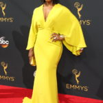 Angela Basset is wearing a Lane Bryant Dress at the Emmys