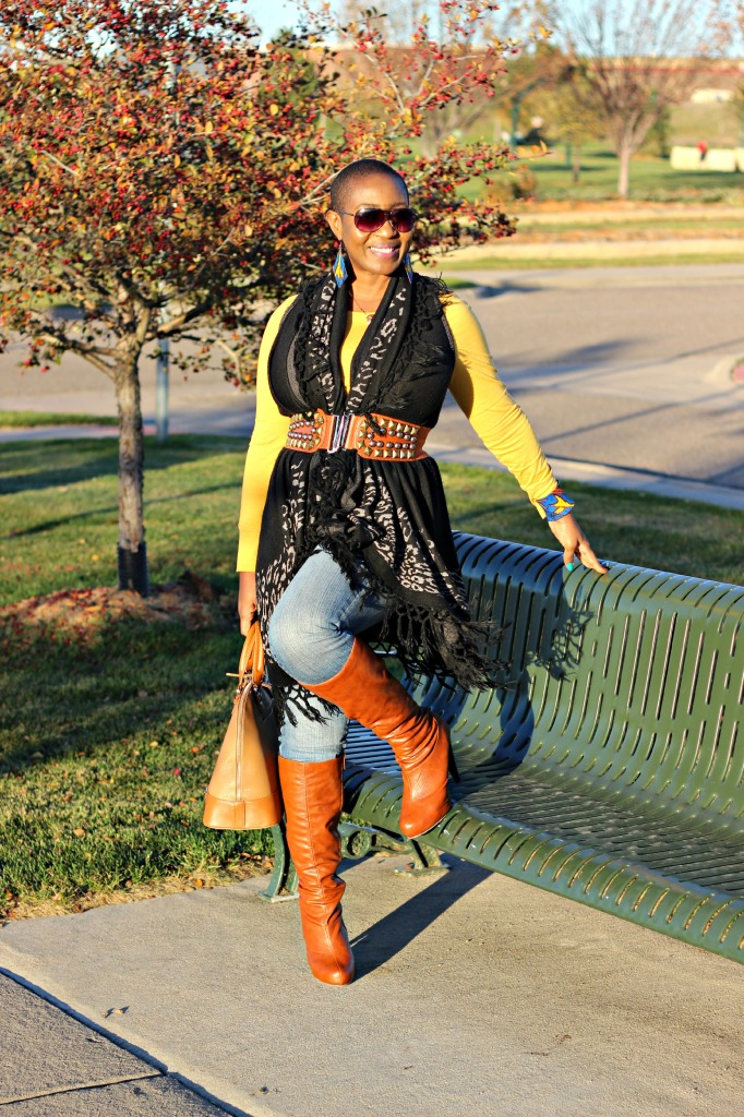cognac-boots-belted-poncho