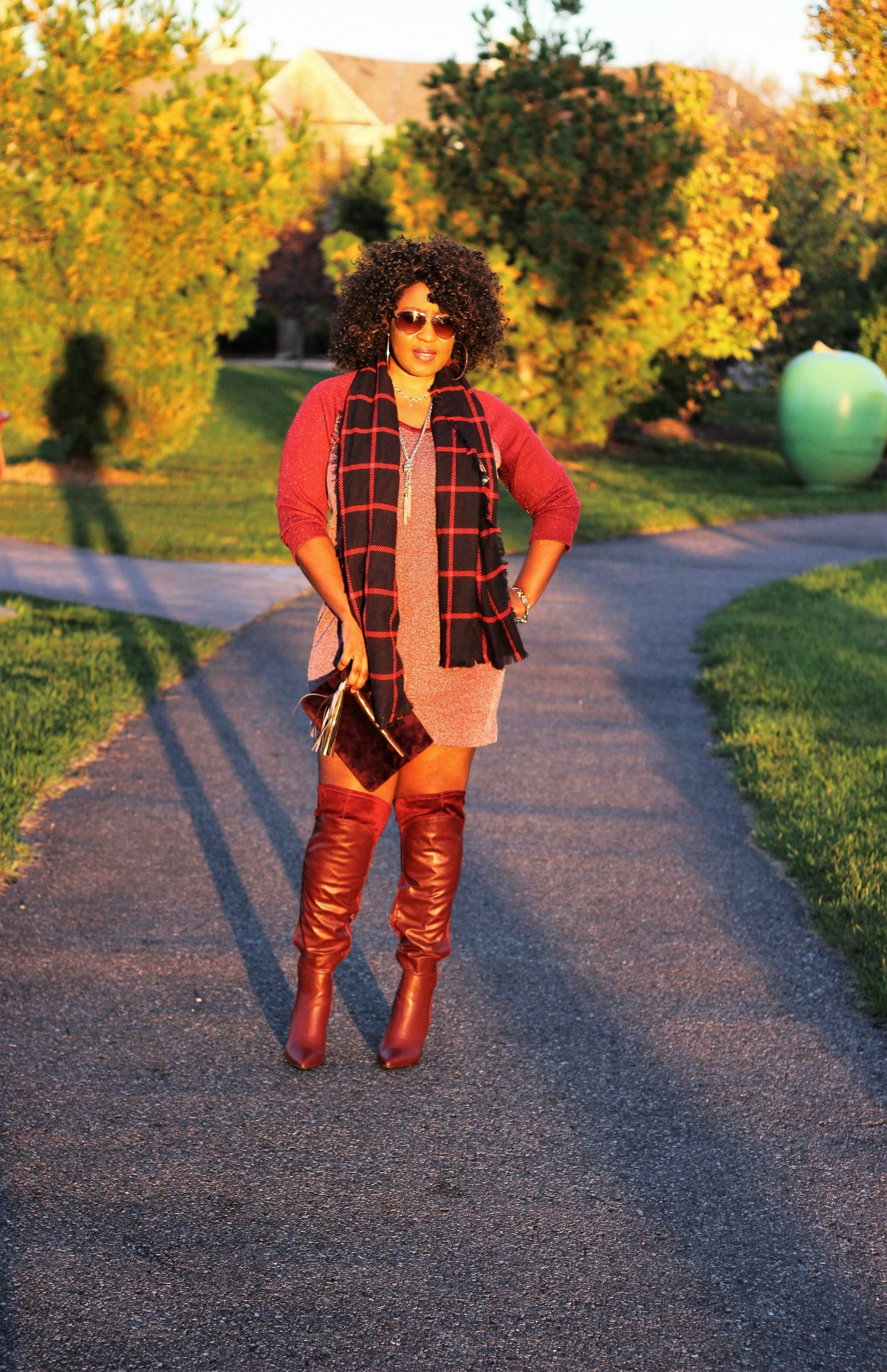Burgundy-sweater-and-boot-and-plaid-scarf