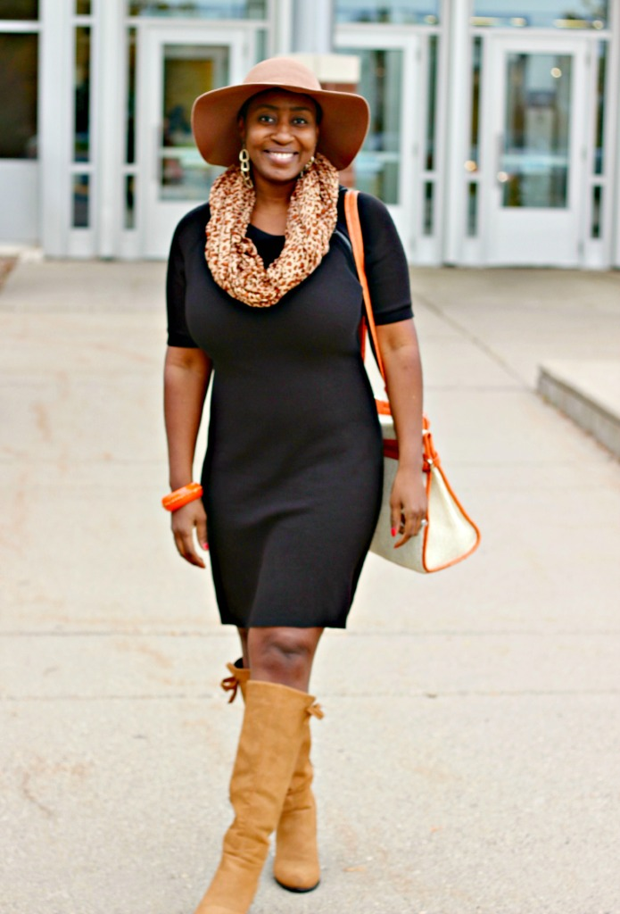 leopard-scarf-tan-boots-and-black-sweater-dress