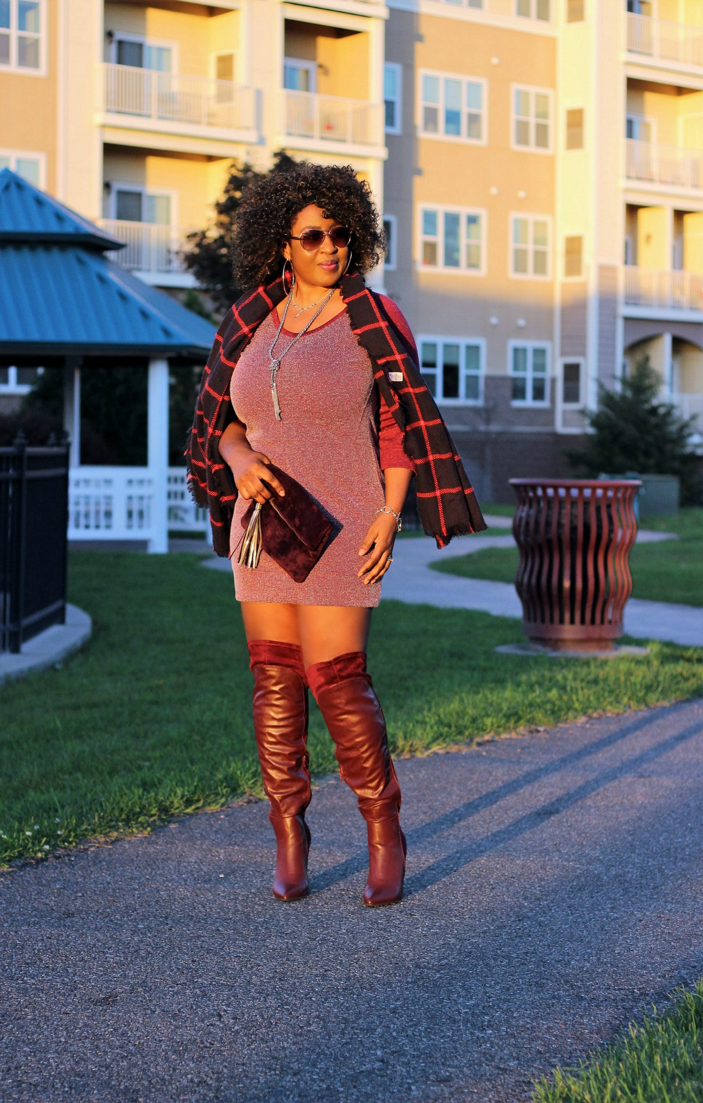 oxbloo-wine-dress-and-boots-for fall