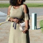 Cold-Shoulder Maxi Dress + Gladiators