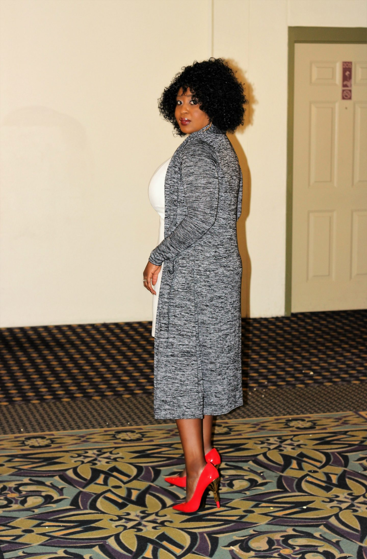 Gray Duster and White Sheath Dress