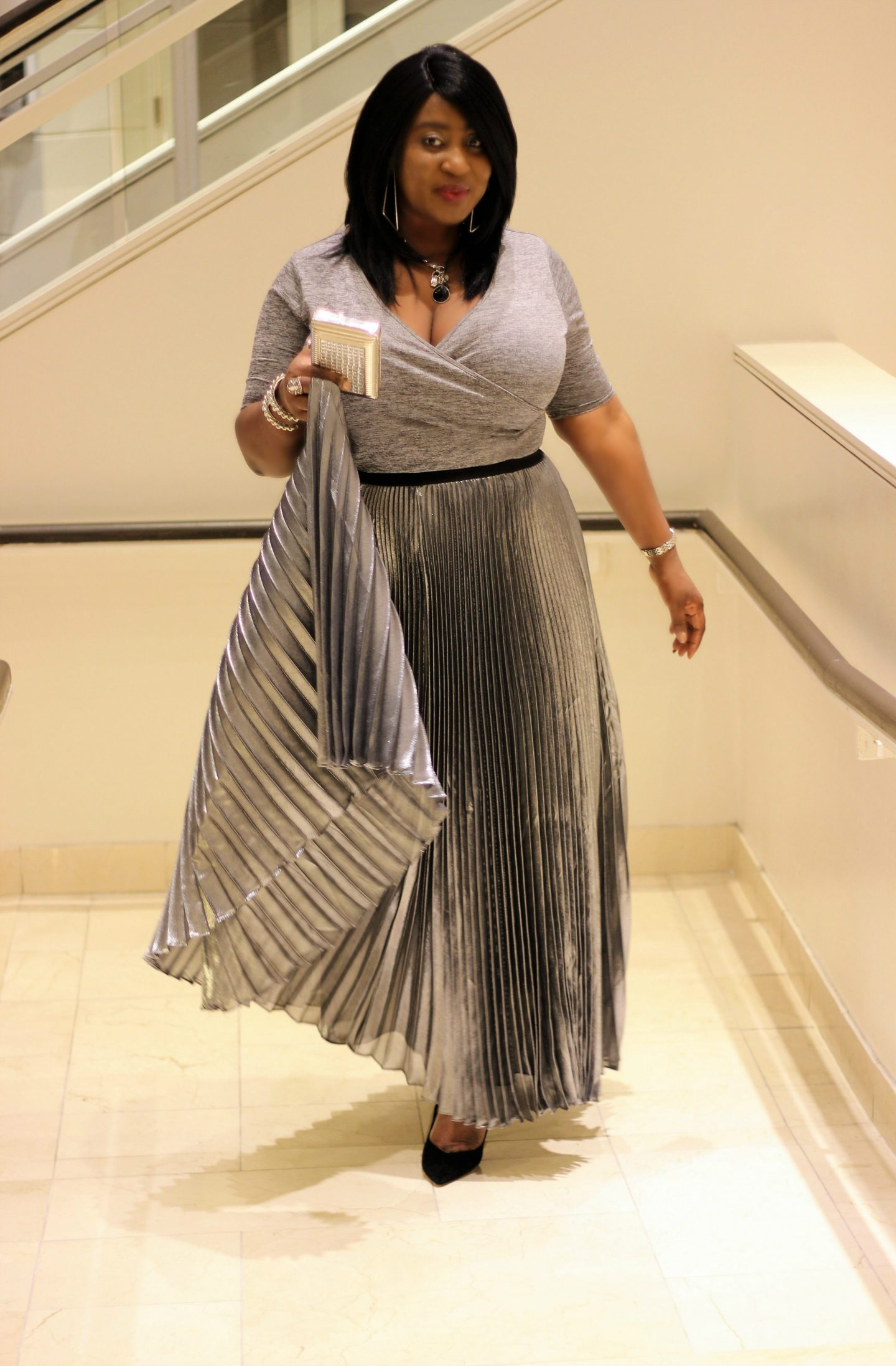 Valentines Day Look | The Metallic Pleated Maxi Skirt ...