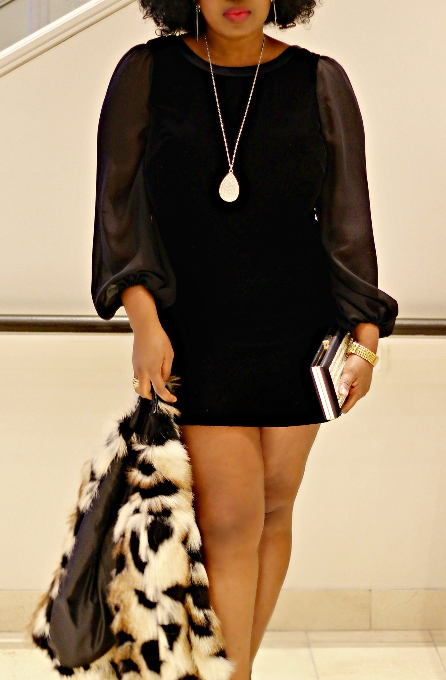 Black Velvet Dress + Faux Fur