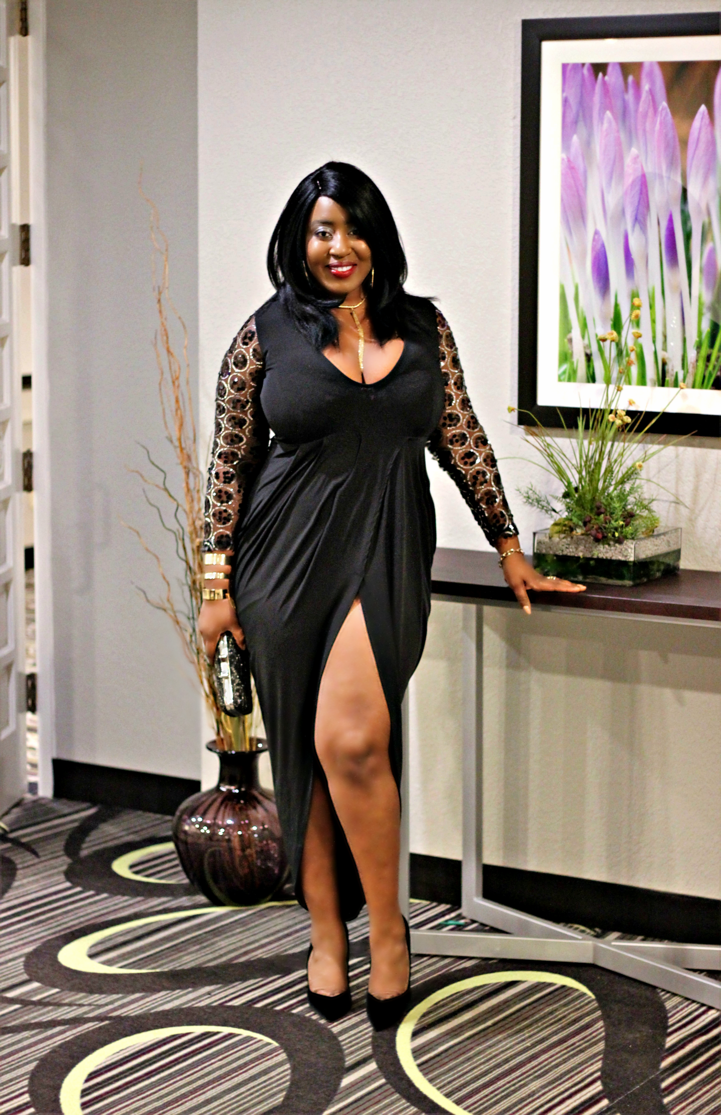 black-long-sleeve-slit-dress