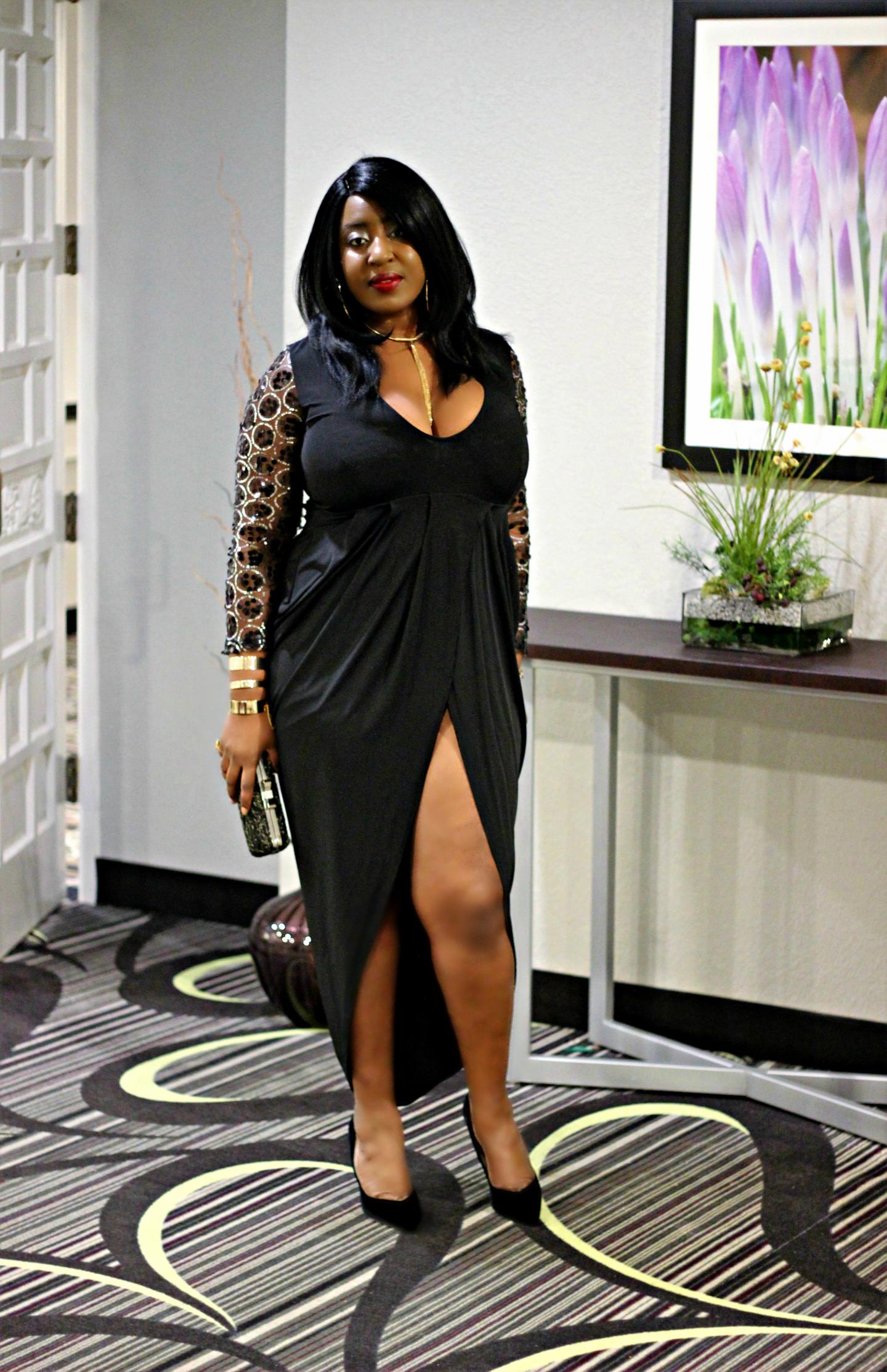 black-details-and-long sleeve-slit-dress