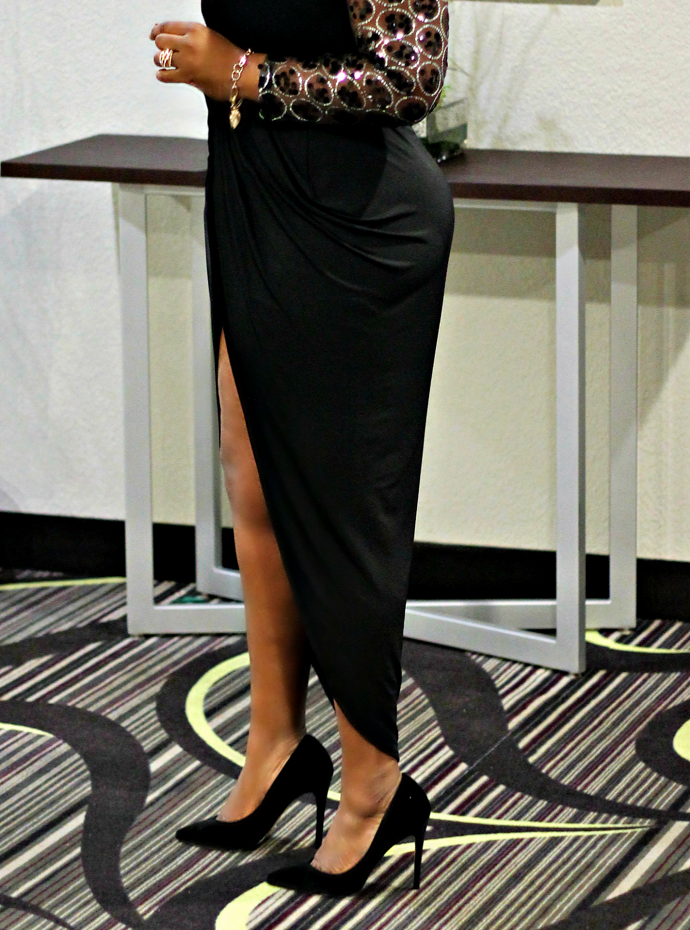 black-details-and-long sleeve-slit-dress