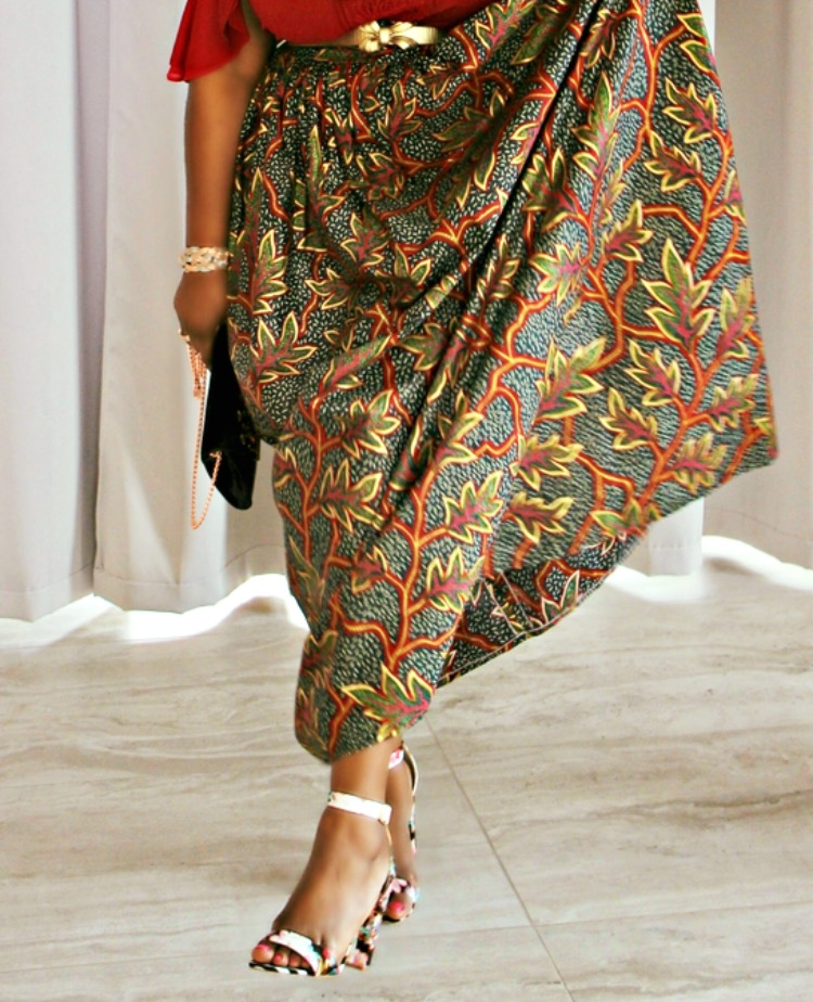 African Prints Maxi Skirt + Off-Shoulder Top