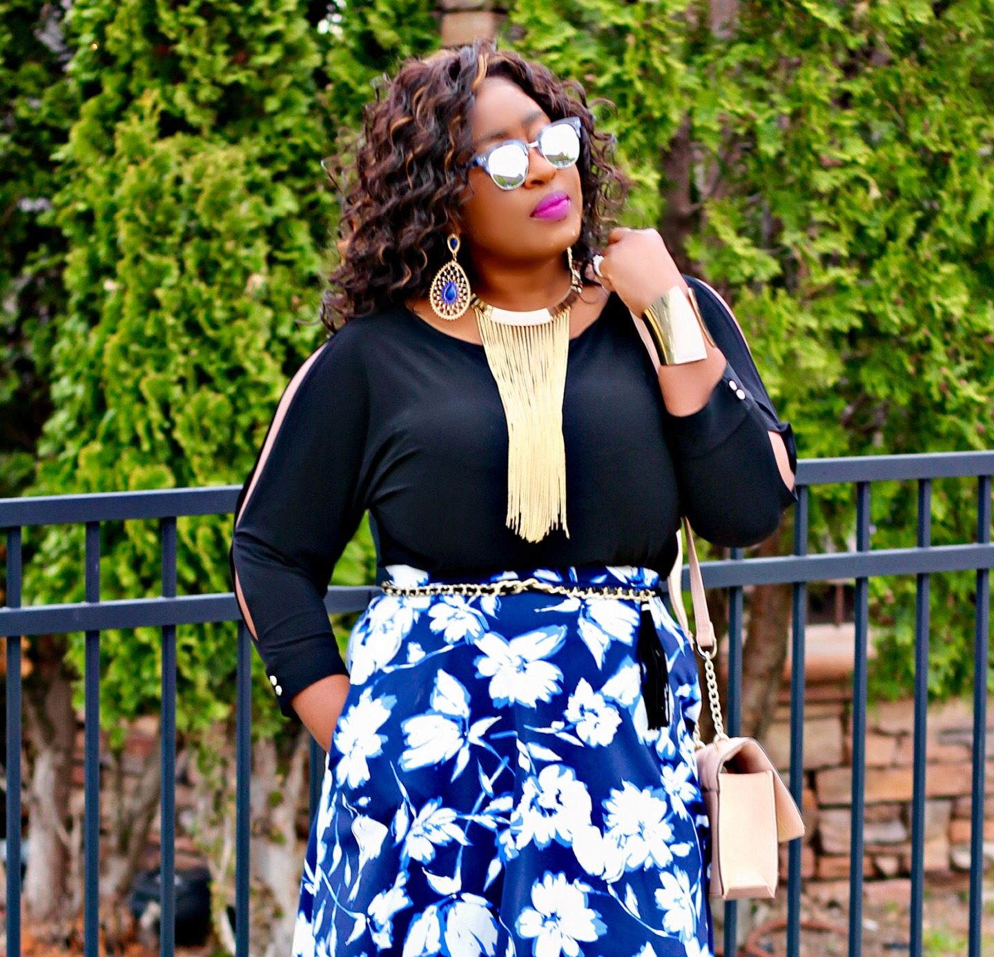 prints-skirt-and-cold-shouder-top
