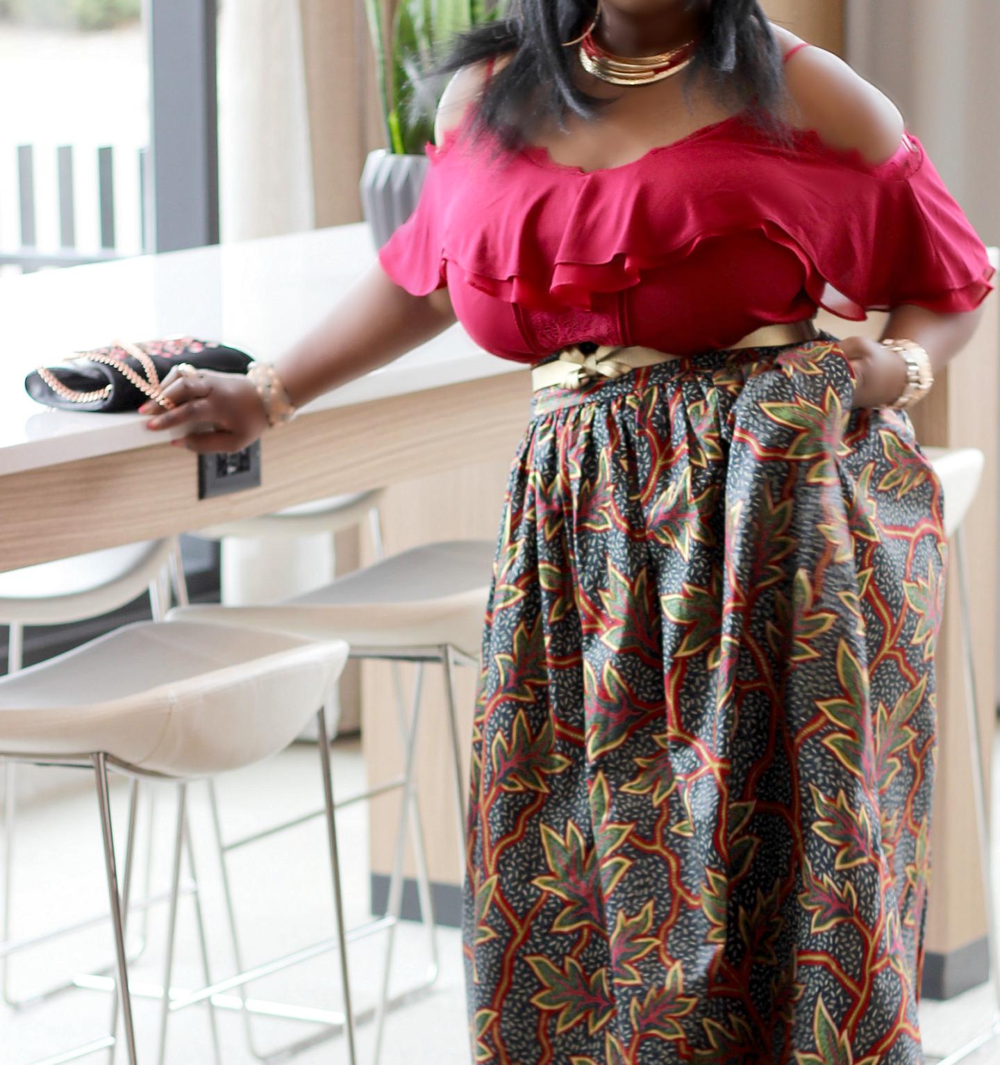Maxi-skirt-red-cold-shoulder
