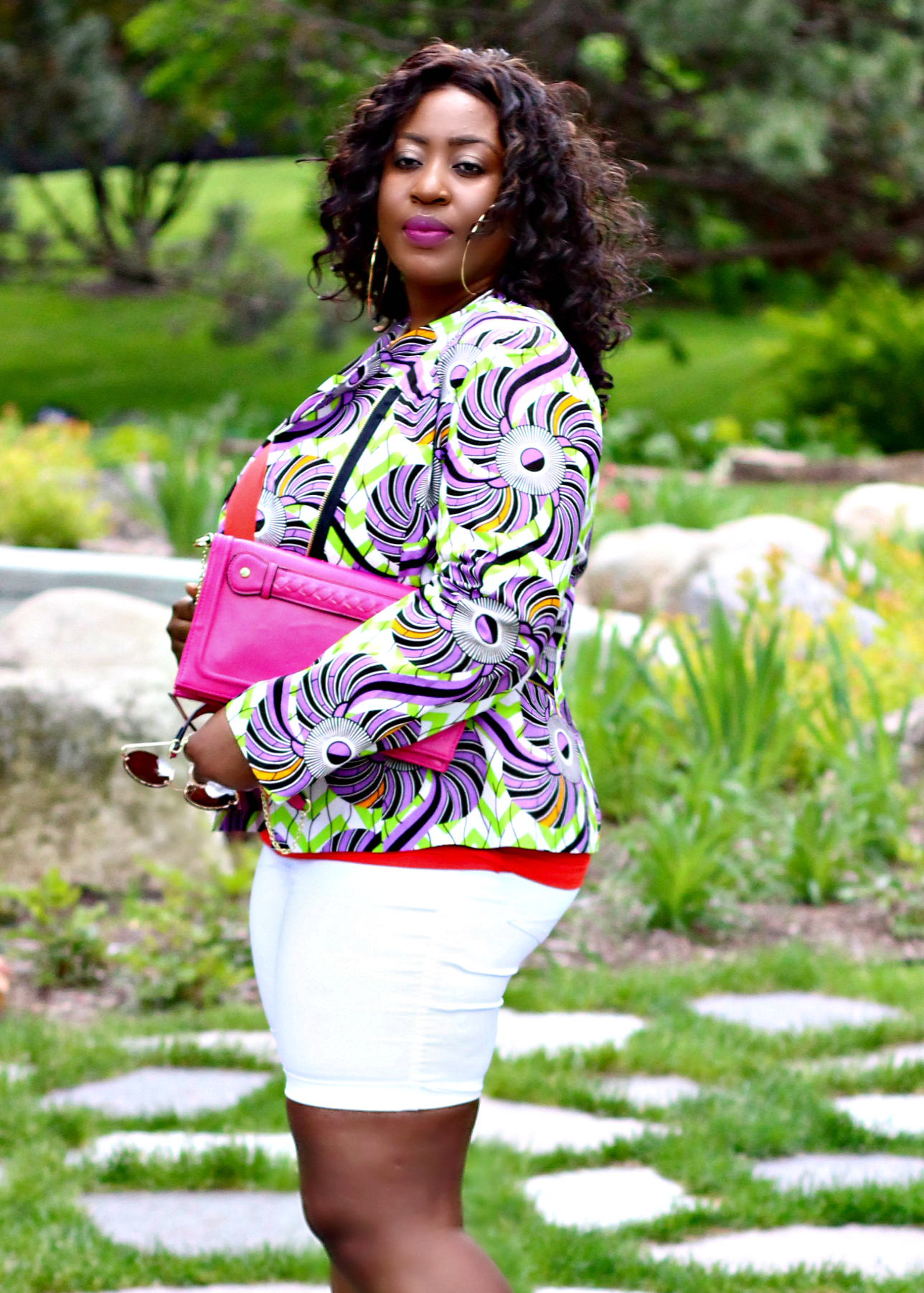 Ankara-prints-blazer-and-white-shorts