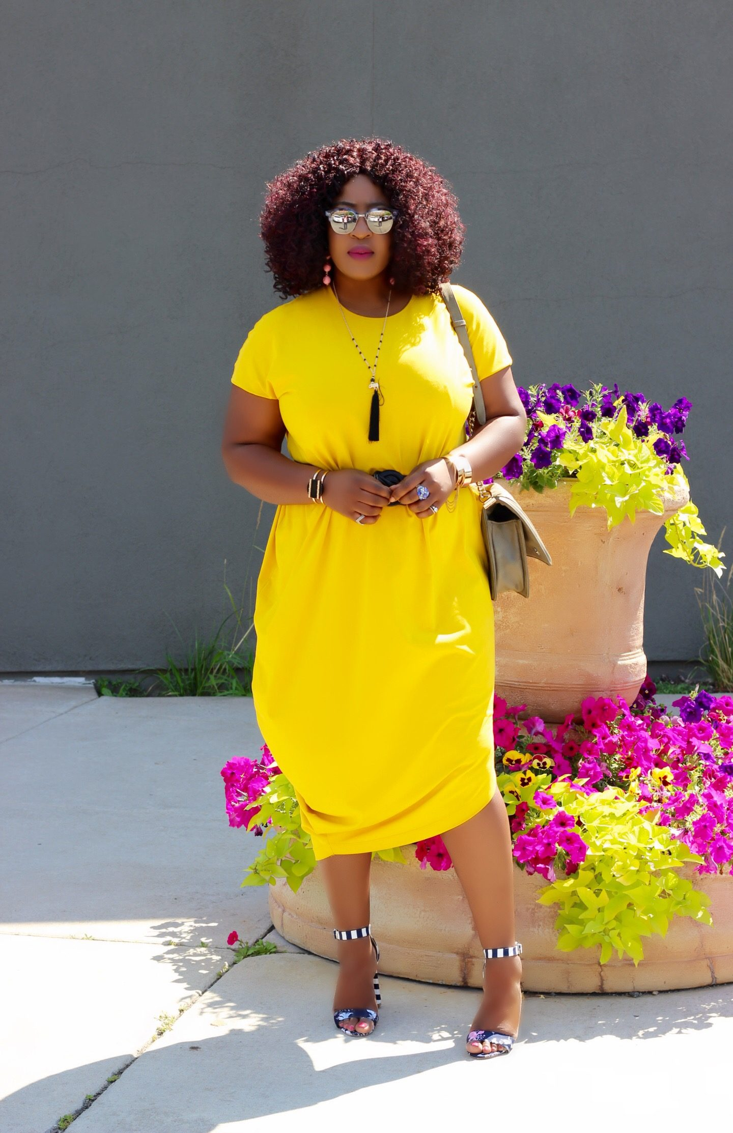 Oversized-asymmetric-yellow-dress