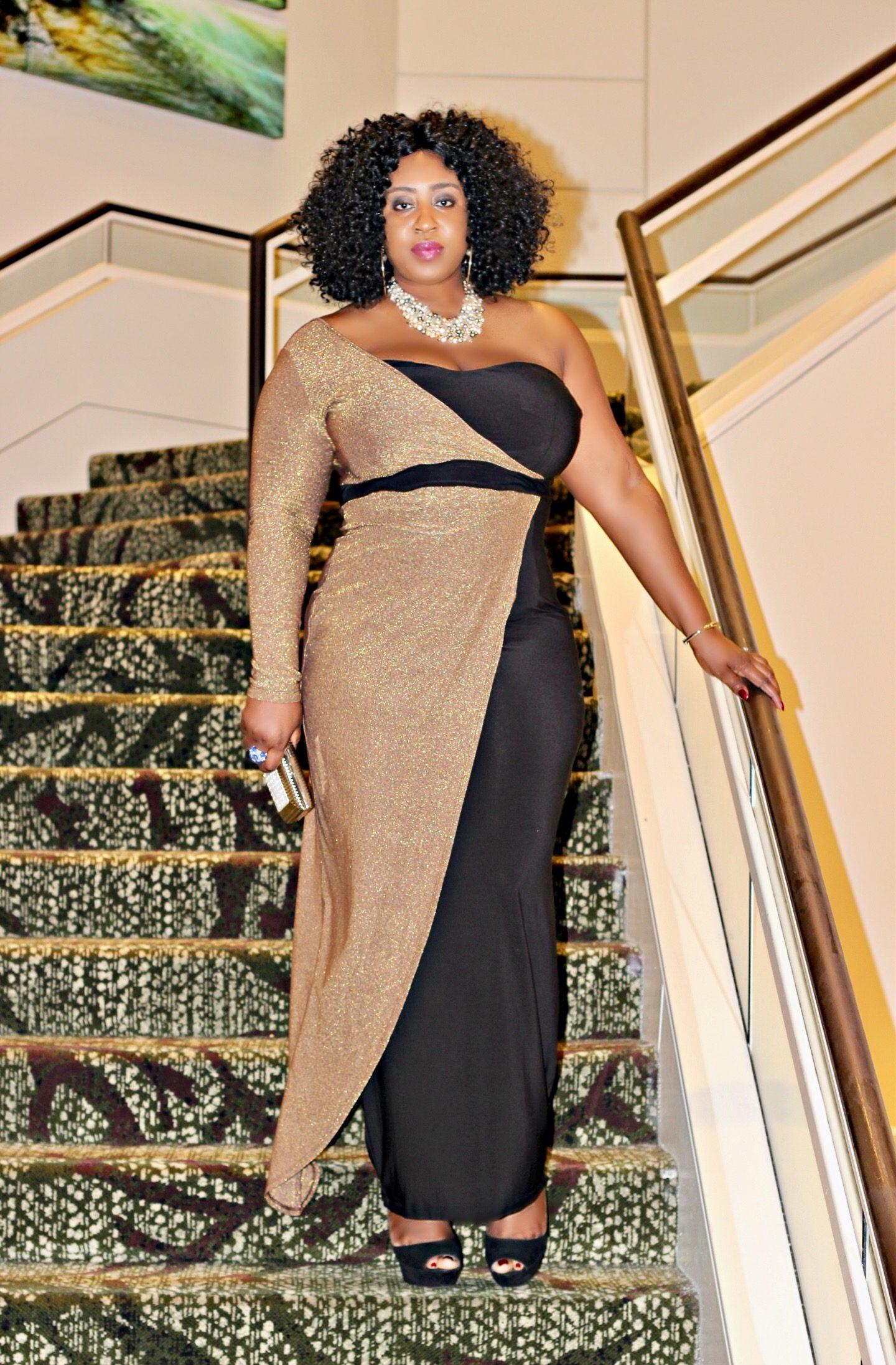 gold-andblack-one-soulder-maxi-dress