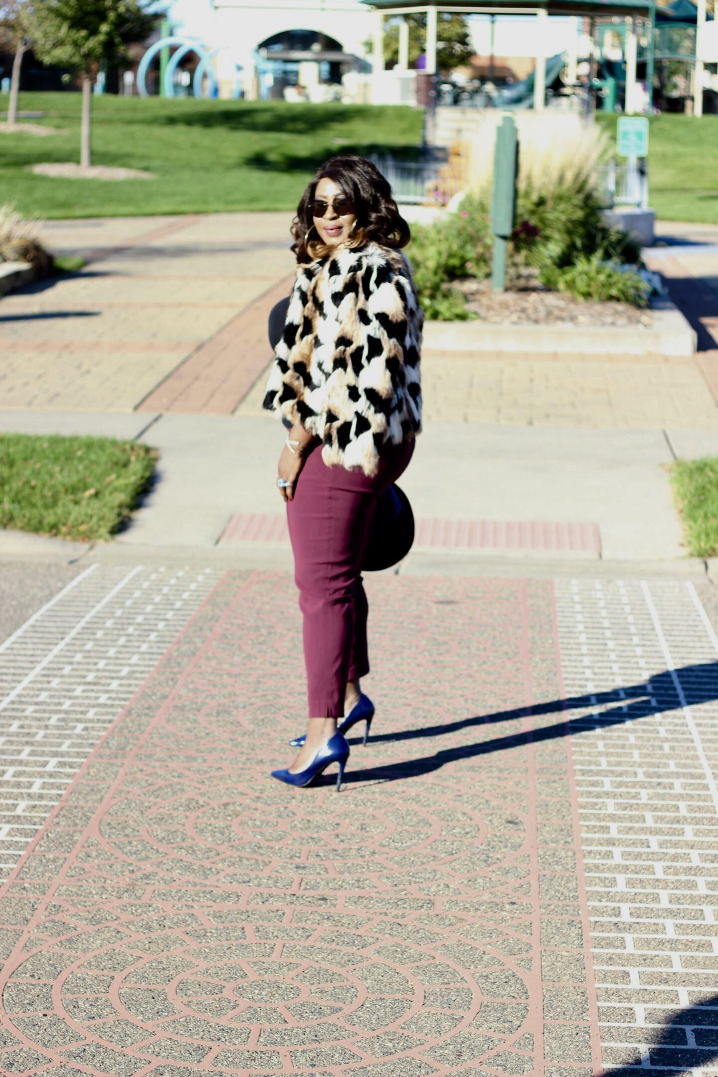Burgundy-pants-faux-fur