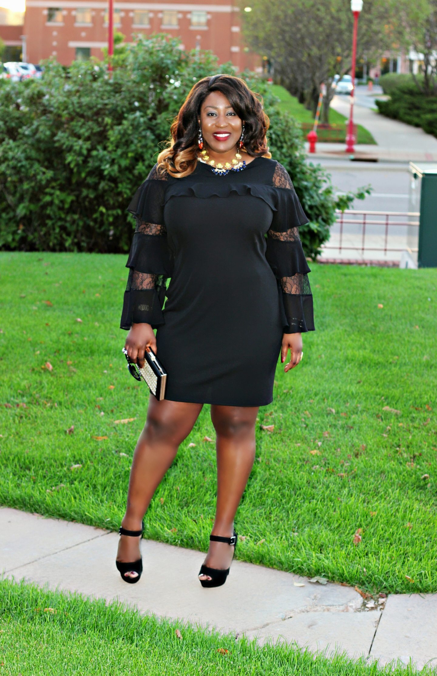 Bell-sleeves-black-sheath-dress