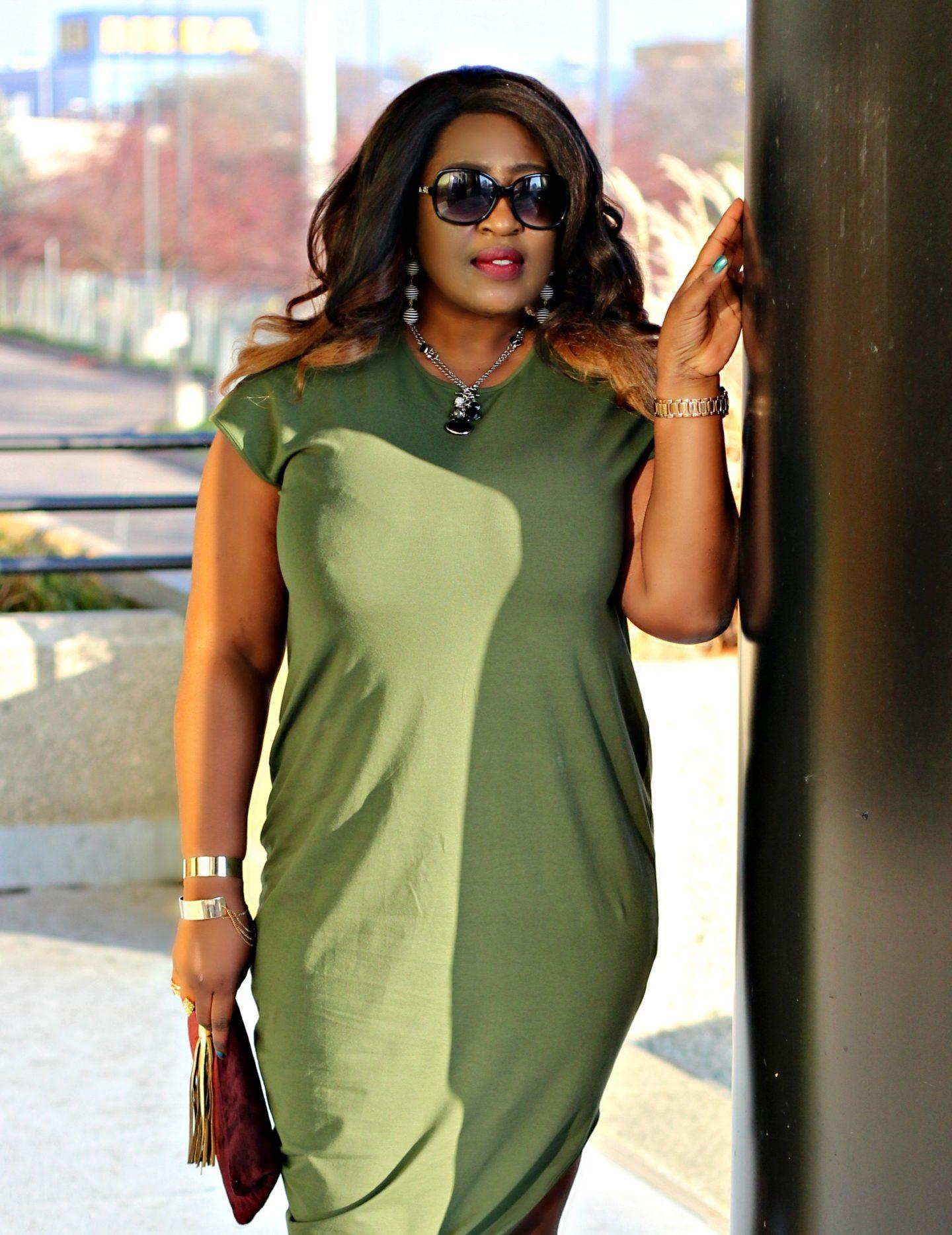 Holiday Olive Midi Asymmetric Dress