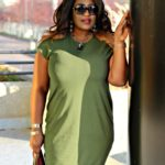 Holiday Olive Midi Asymmetric Dress