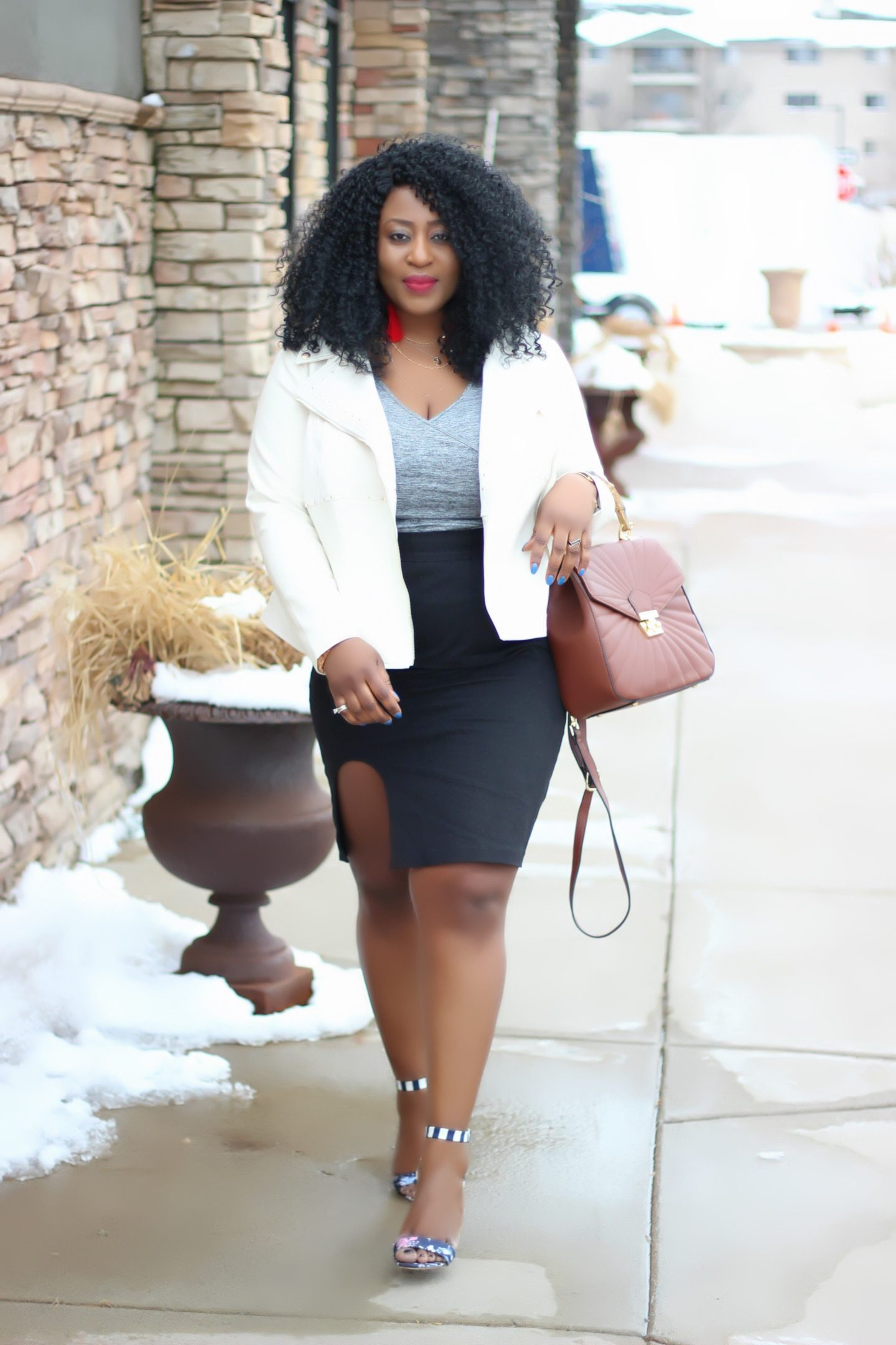 White-jacket-black-skirt