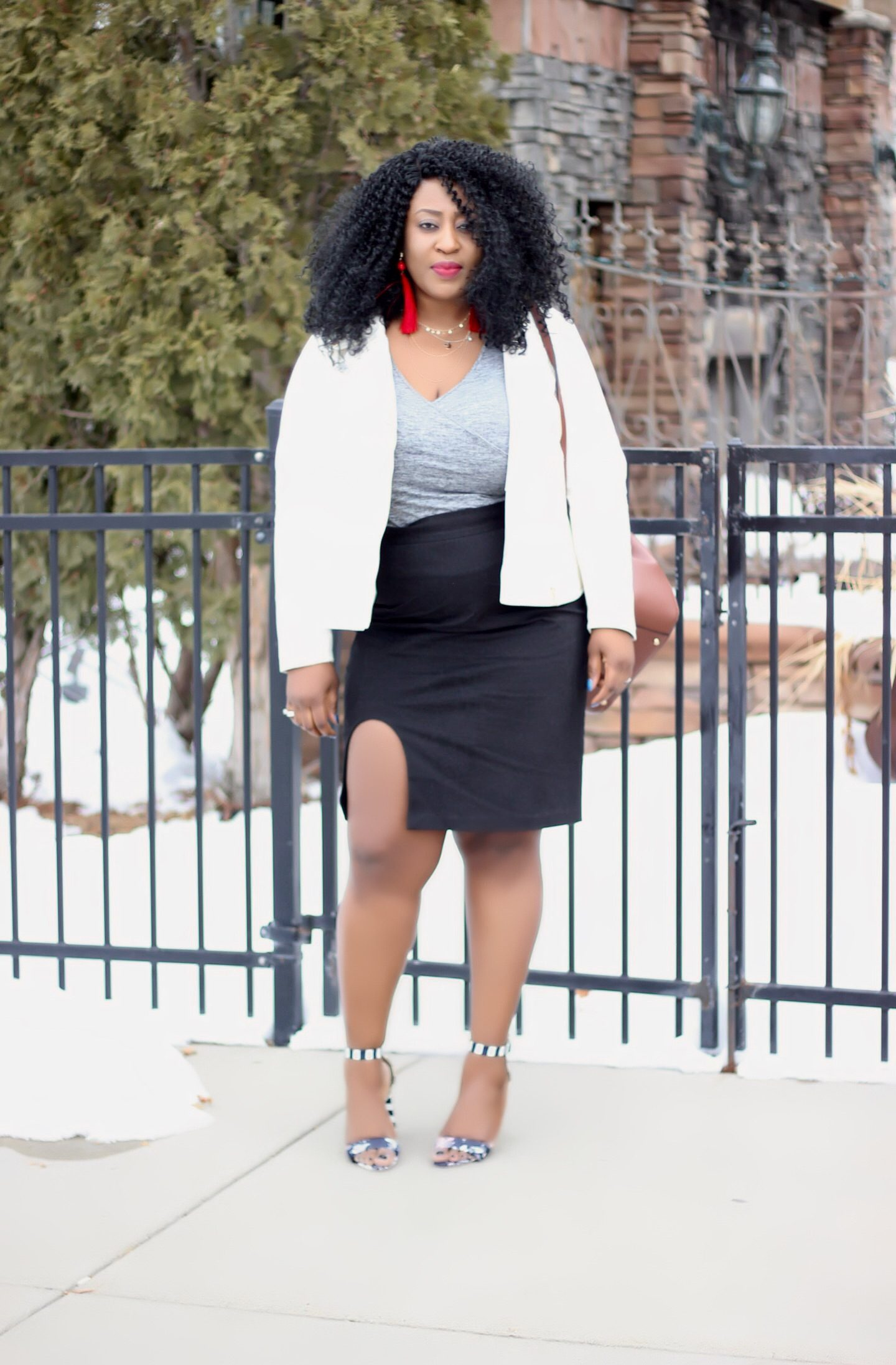White-jacket-and-black-skirt