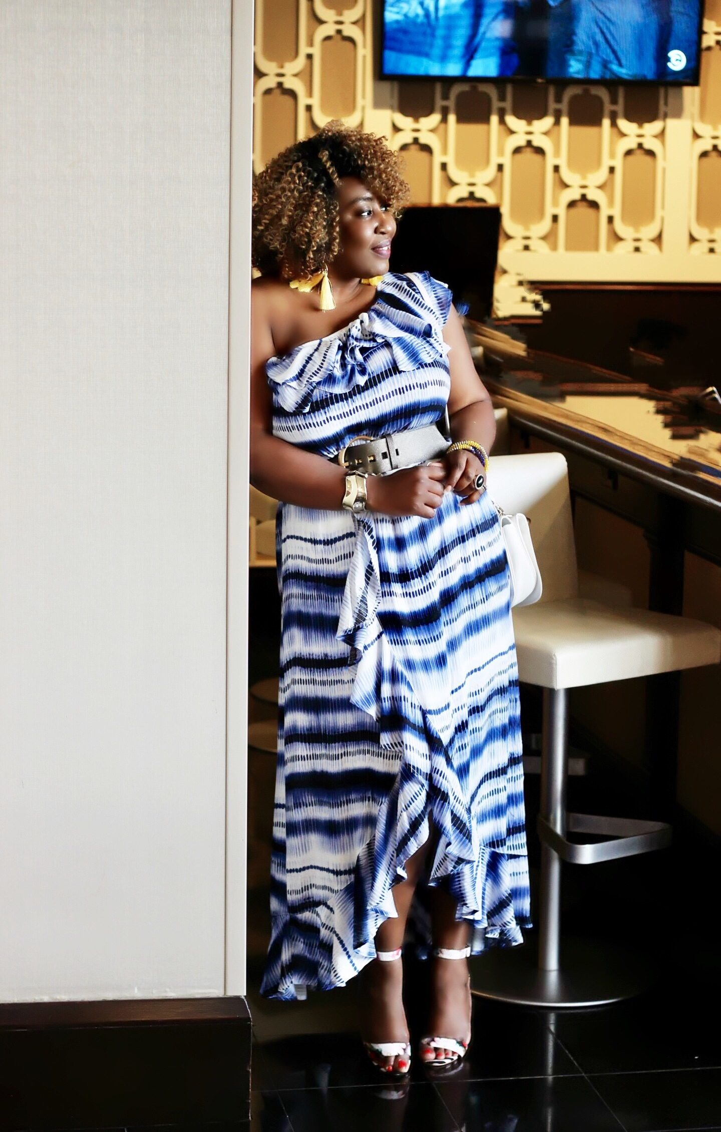 Wrap front high-low maxi-dress