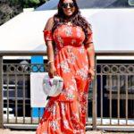 Print front slit maxi dress