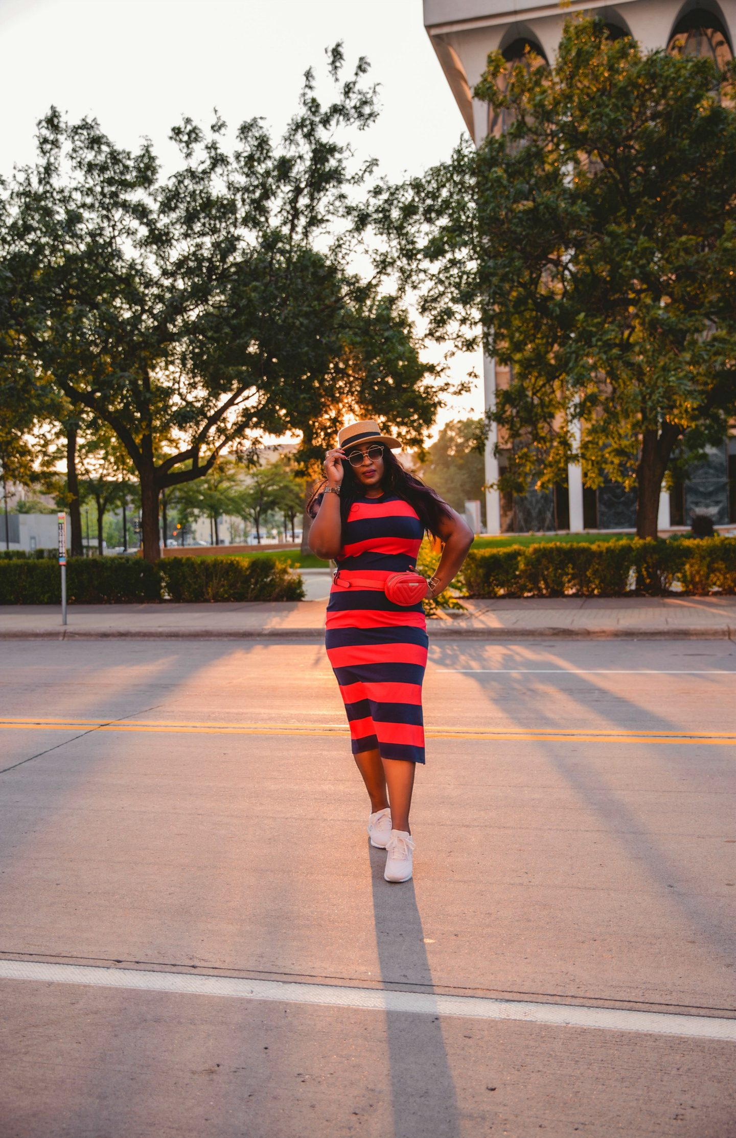 Striped-knit-dress-with-sneakers