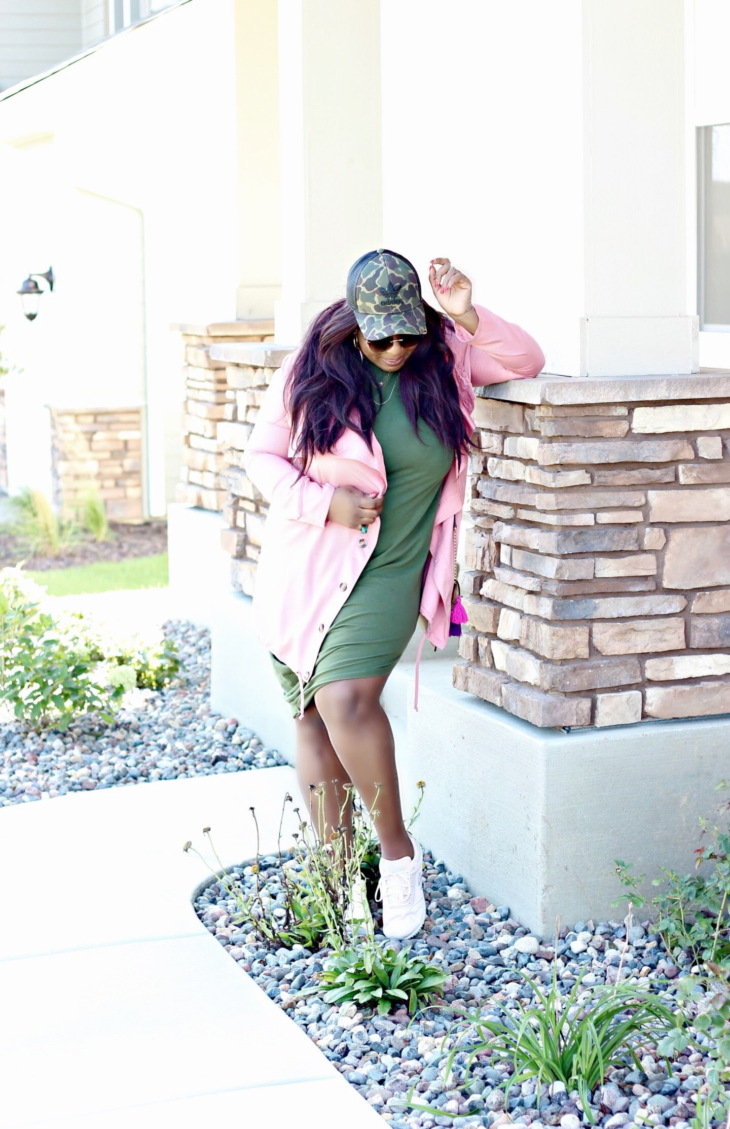 olive-dress-and-mauve-jacket