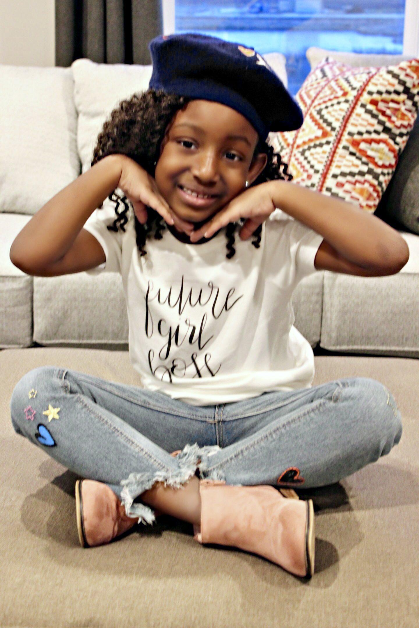 Beautiful-girl-in-future-girl boss-shirt