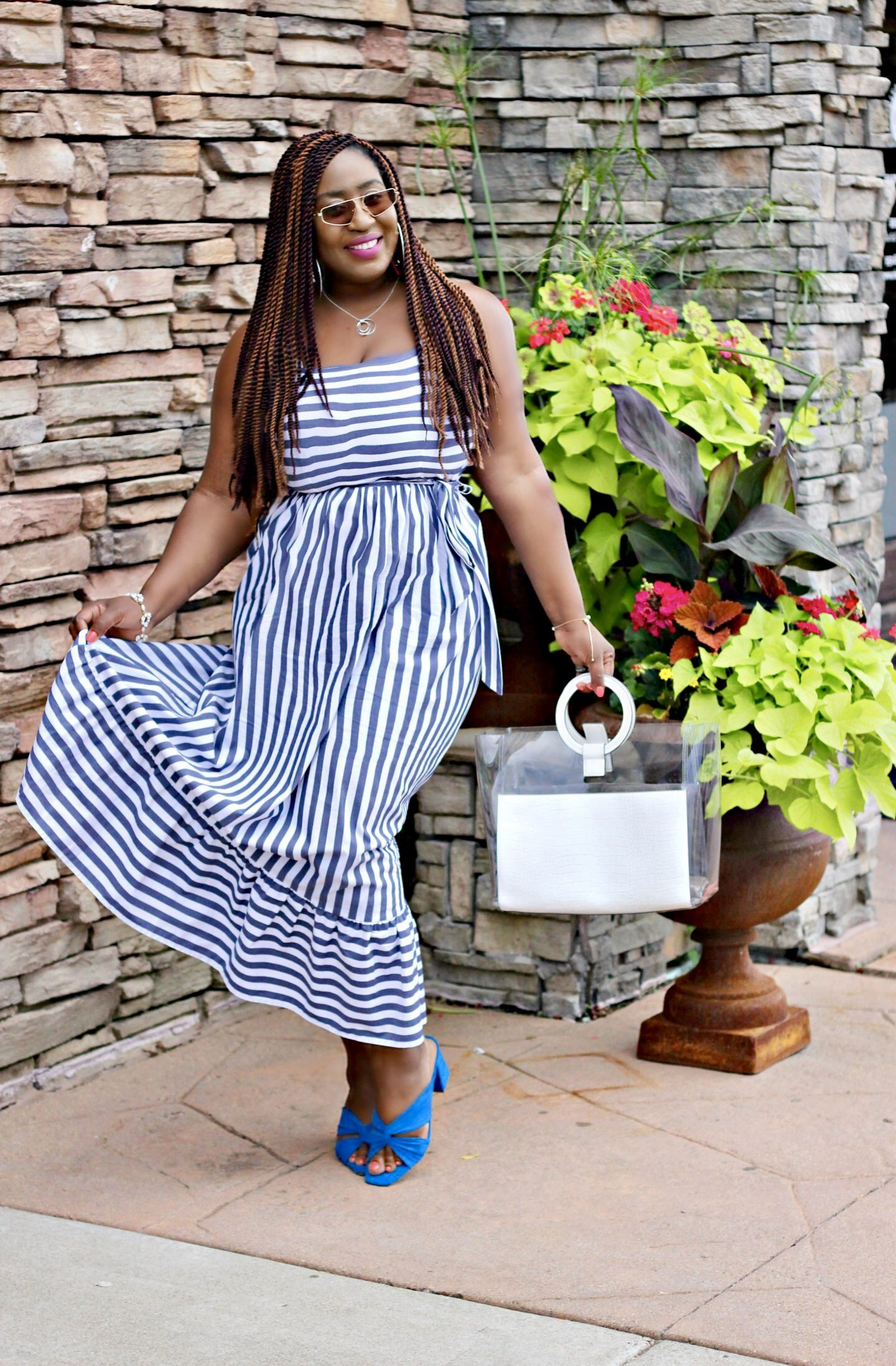 Blue-striped-summer-dress