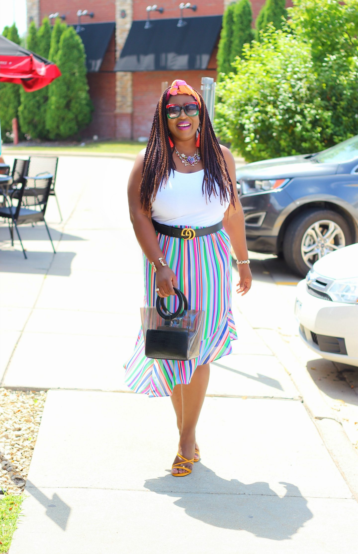Multicolored Striped Skirt + White Tank Top