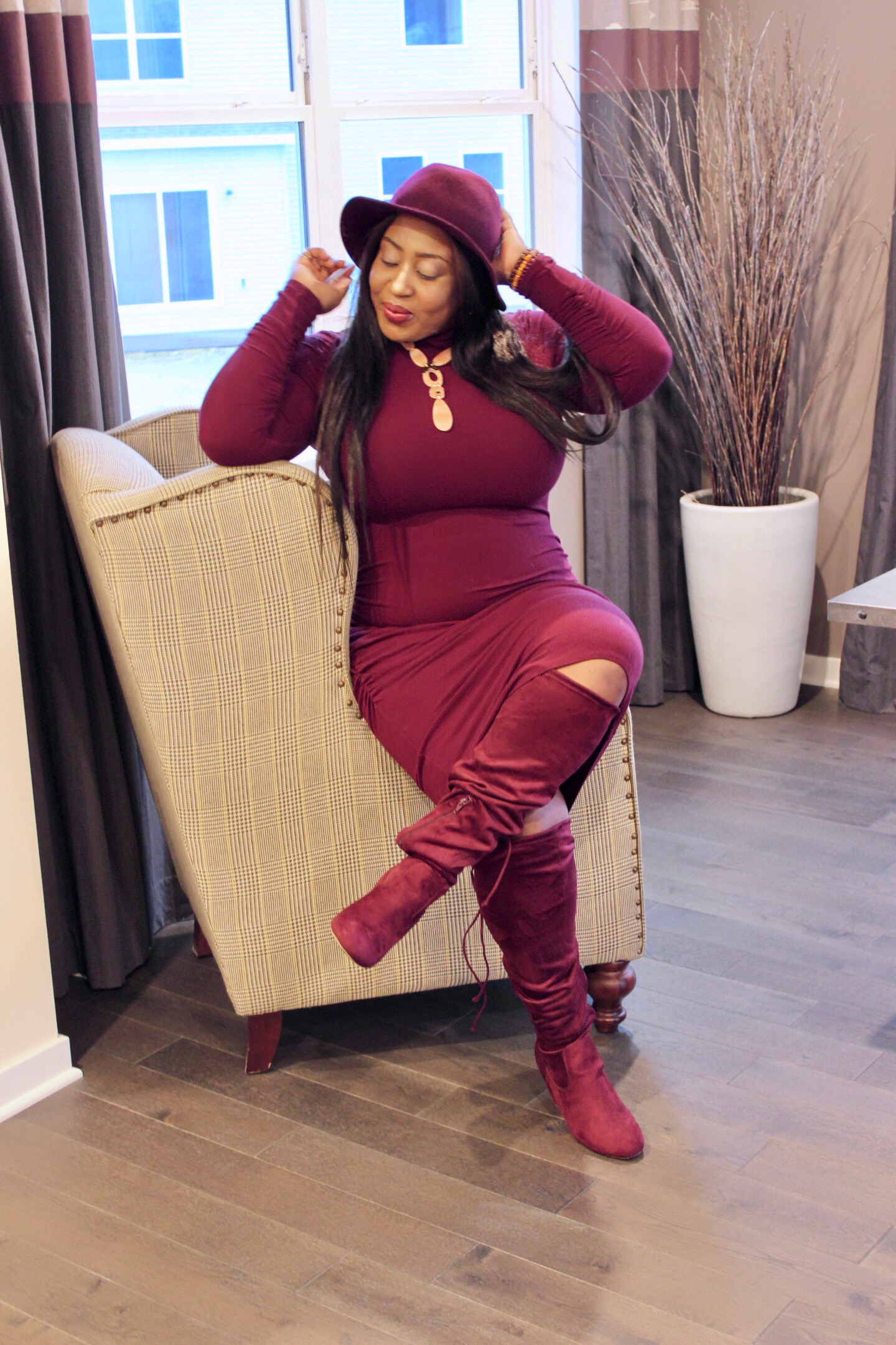 beautiful-burgundy-dress-and-boots