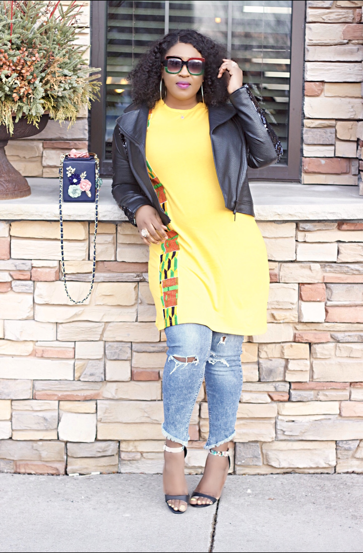 denim-casual-yellow-ankara-shirt-dress