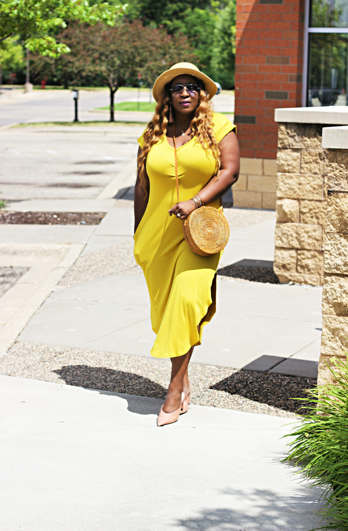 beautiful-yellow-midi-dress