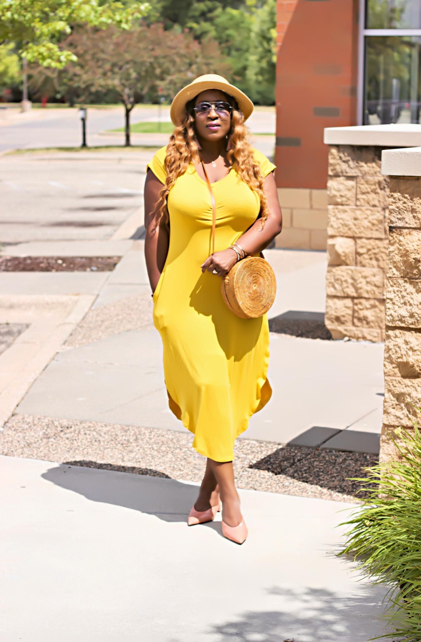 beautiful-yellow-midi-dress