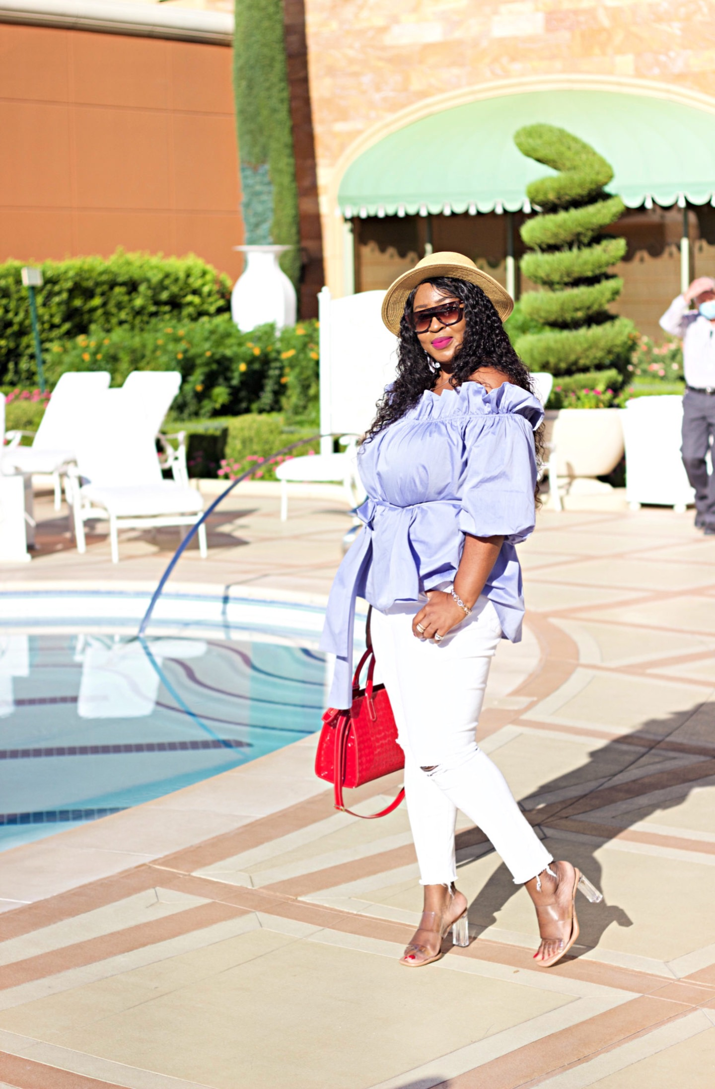 How to wear a cute off-shoulder blouse in Summer and still look classy