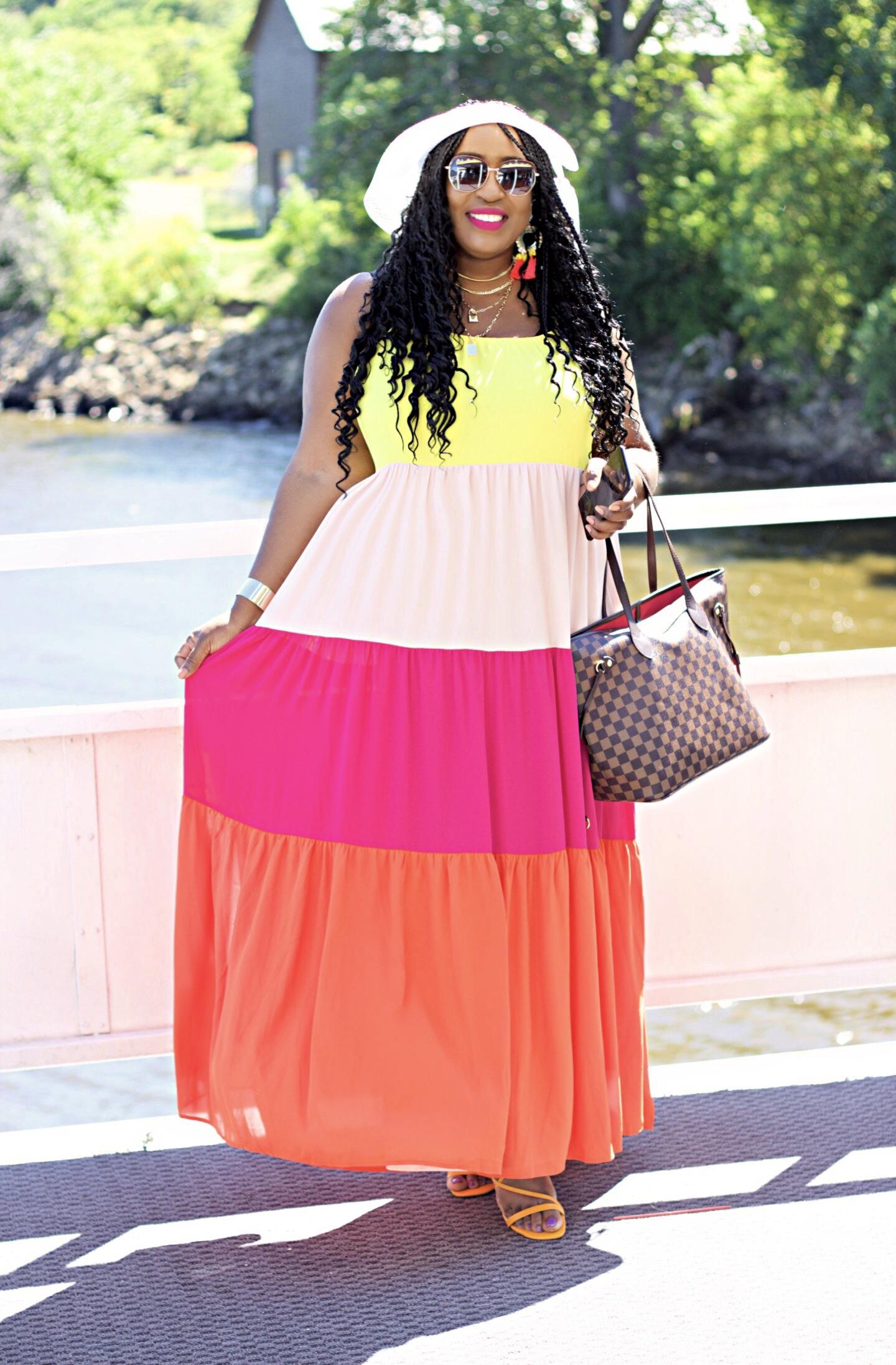 express-beautiful-colorblock-maxi-dress