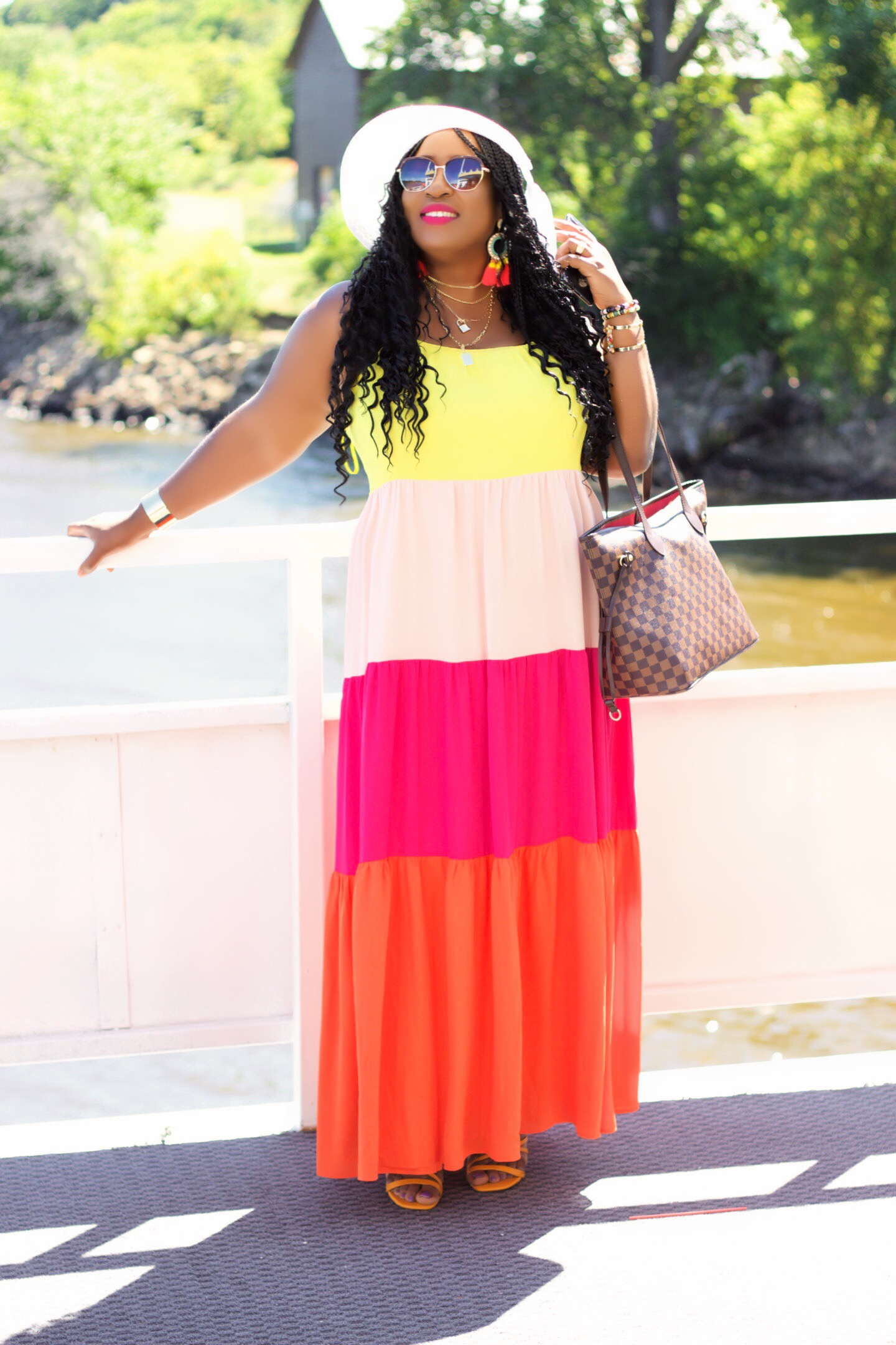 Color block Maxi Dress to Transition In Fall
