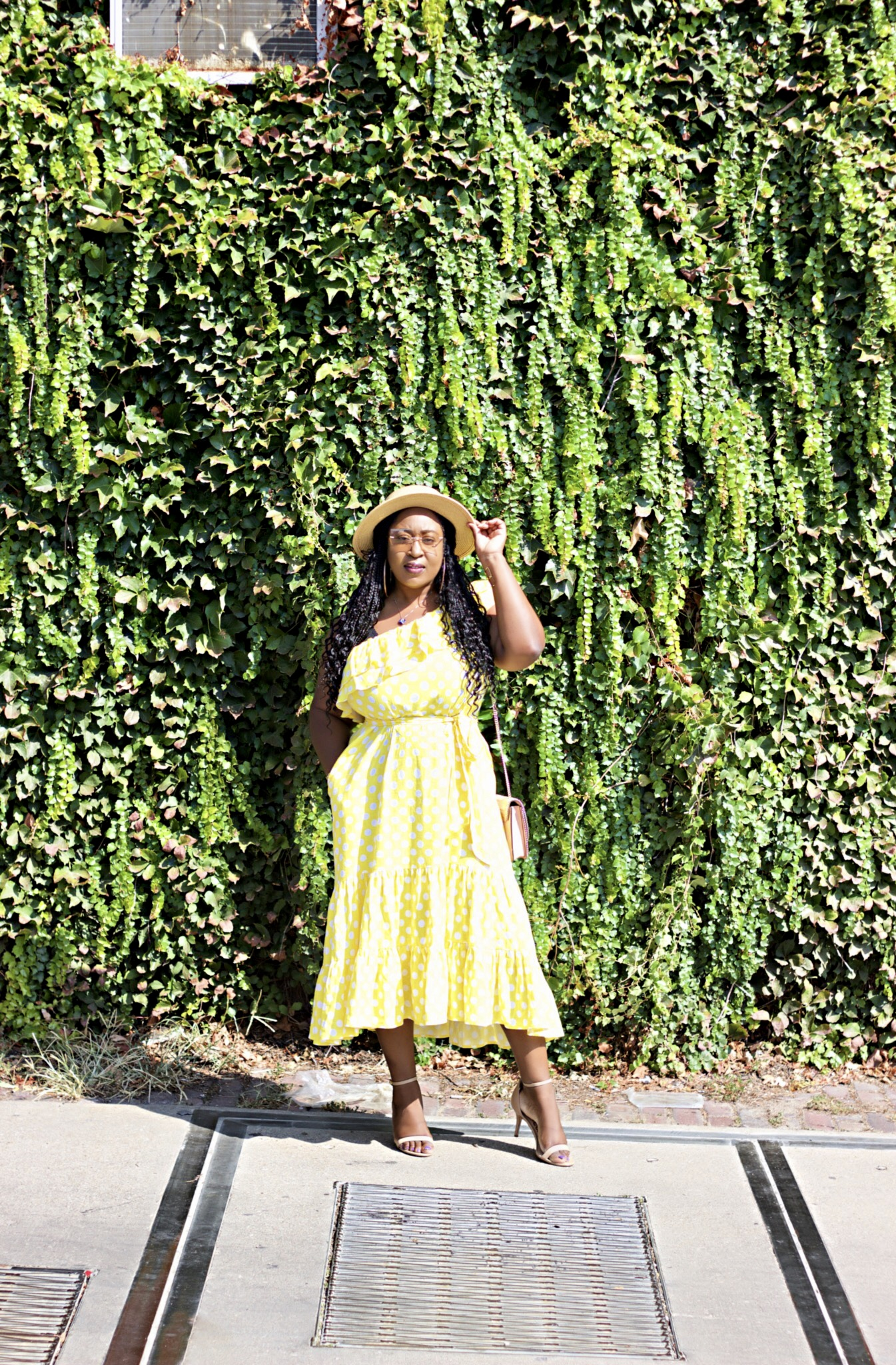 beautiful-off-the-shoulder-polka-dot-yellow-dress-hypnozglam