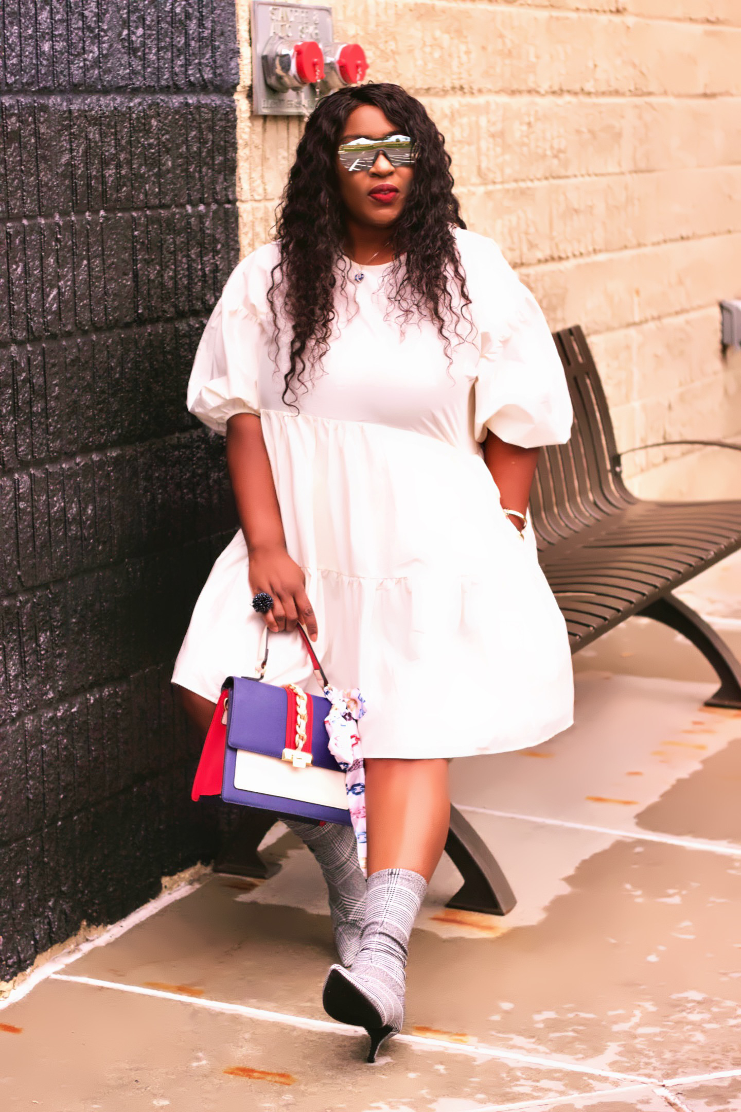 woman-white-puff-sleeves-tiered-dress-hynozglam
