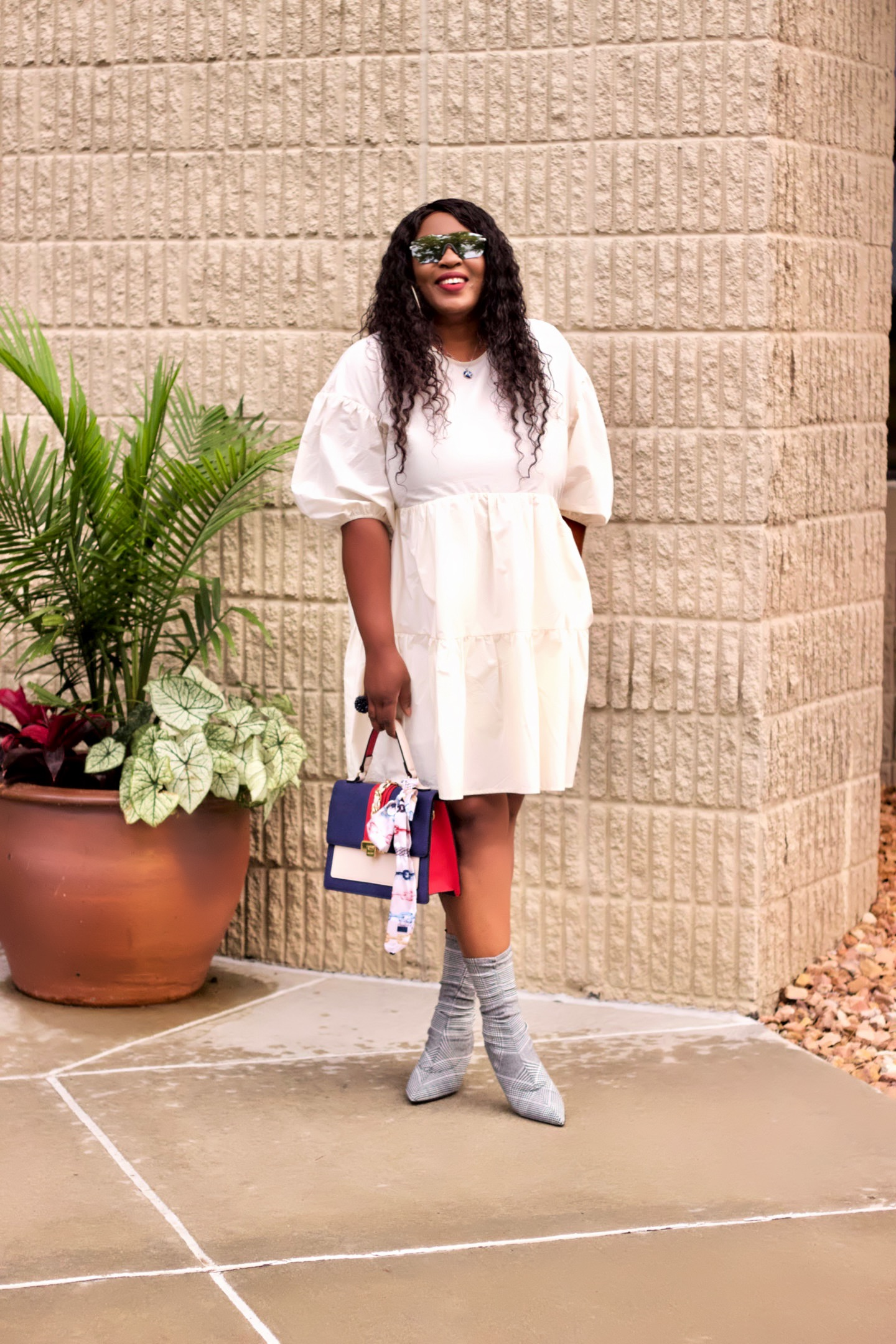 woman-puff-sleeves-tiered-dress-hynozglam