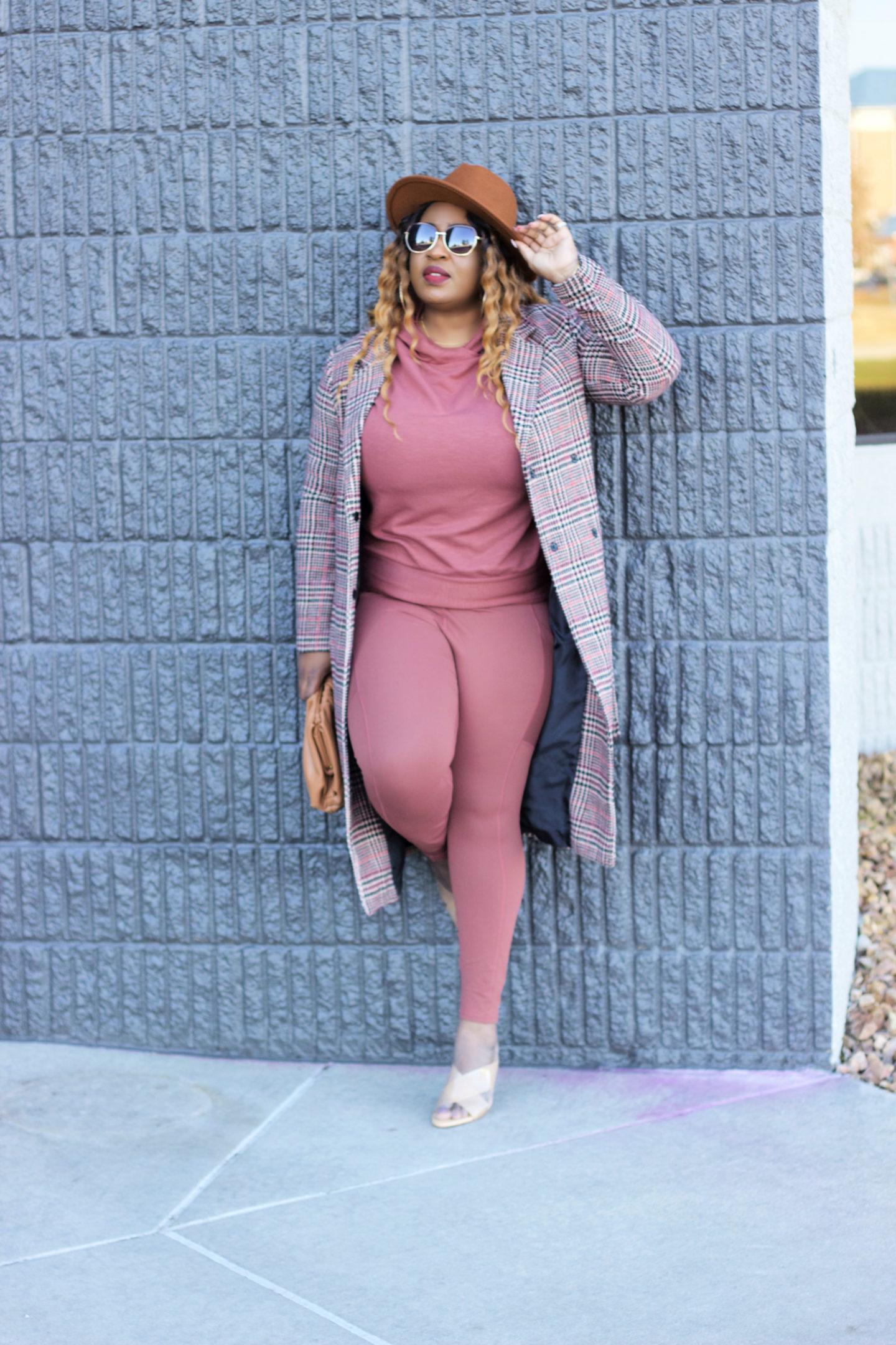beautiful-brown-pink-sweater-legging-plaid-coat