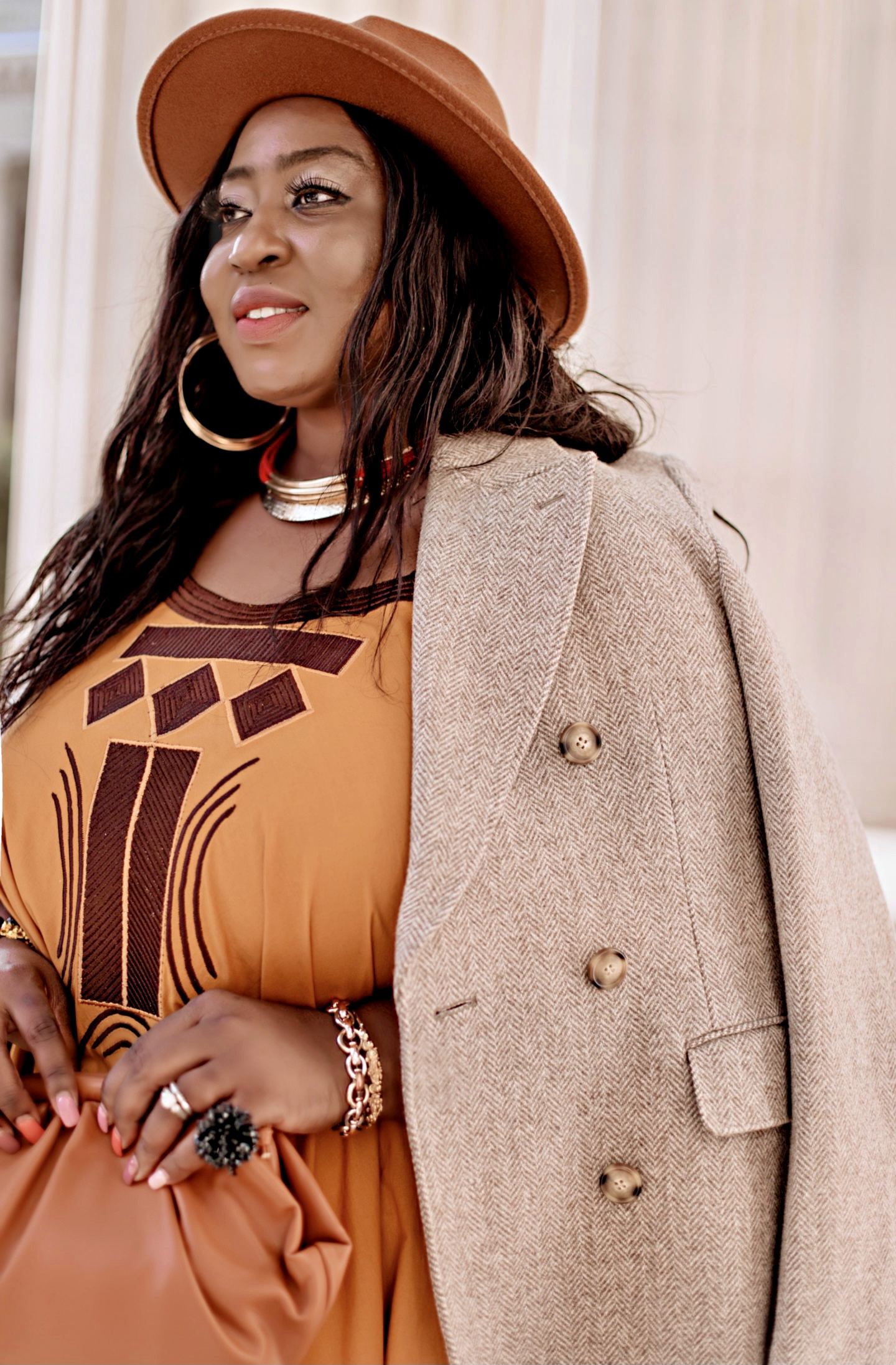 Fall-style-orange-dress-beige-coat-fedora-hat