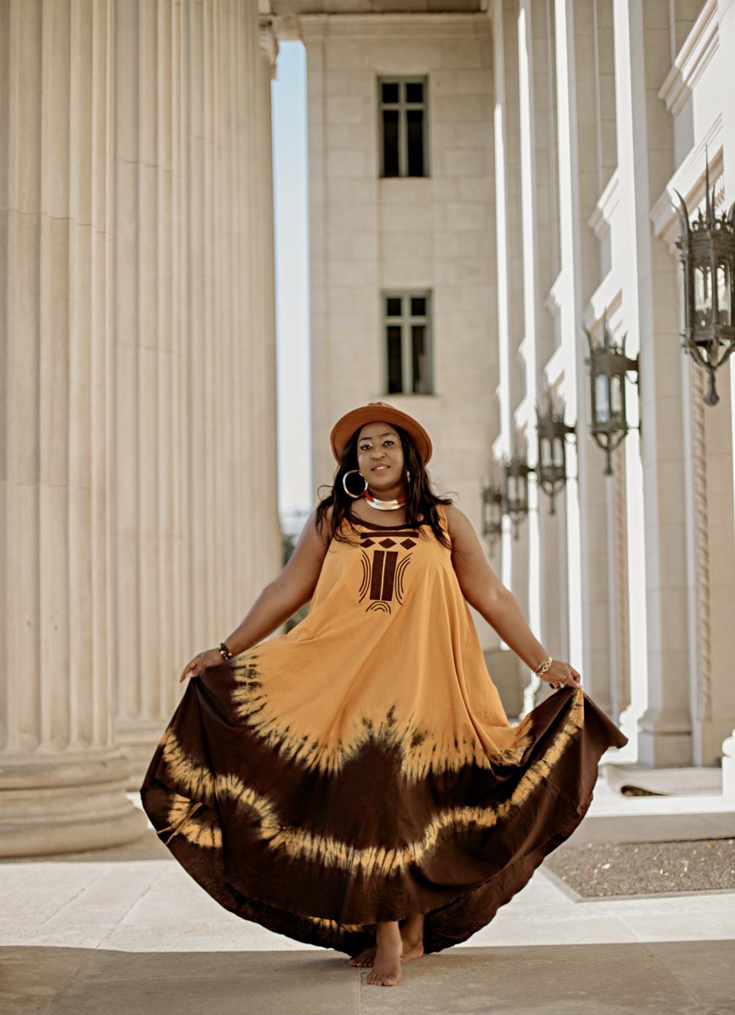beautiful-fall-summer-brown-orange-ethnic-maxi-dress