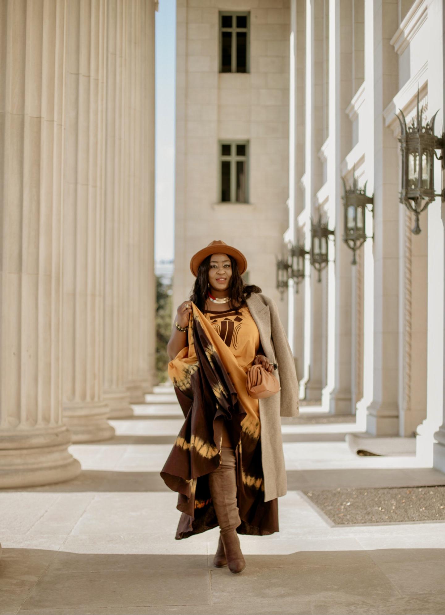 beautiful-ethnic-maxi-dress-beige-coat-fedora-hat-nadiaka