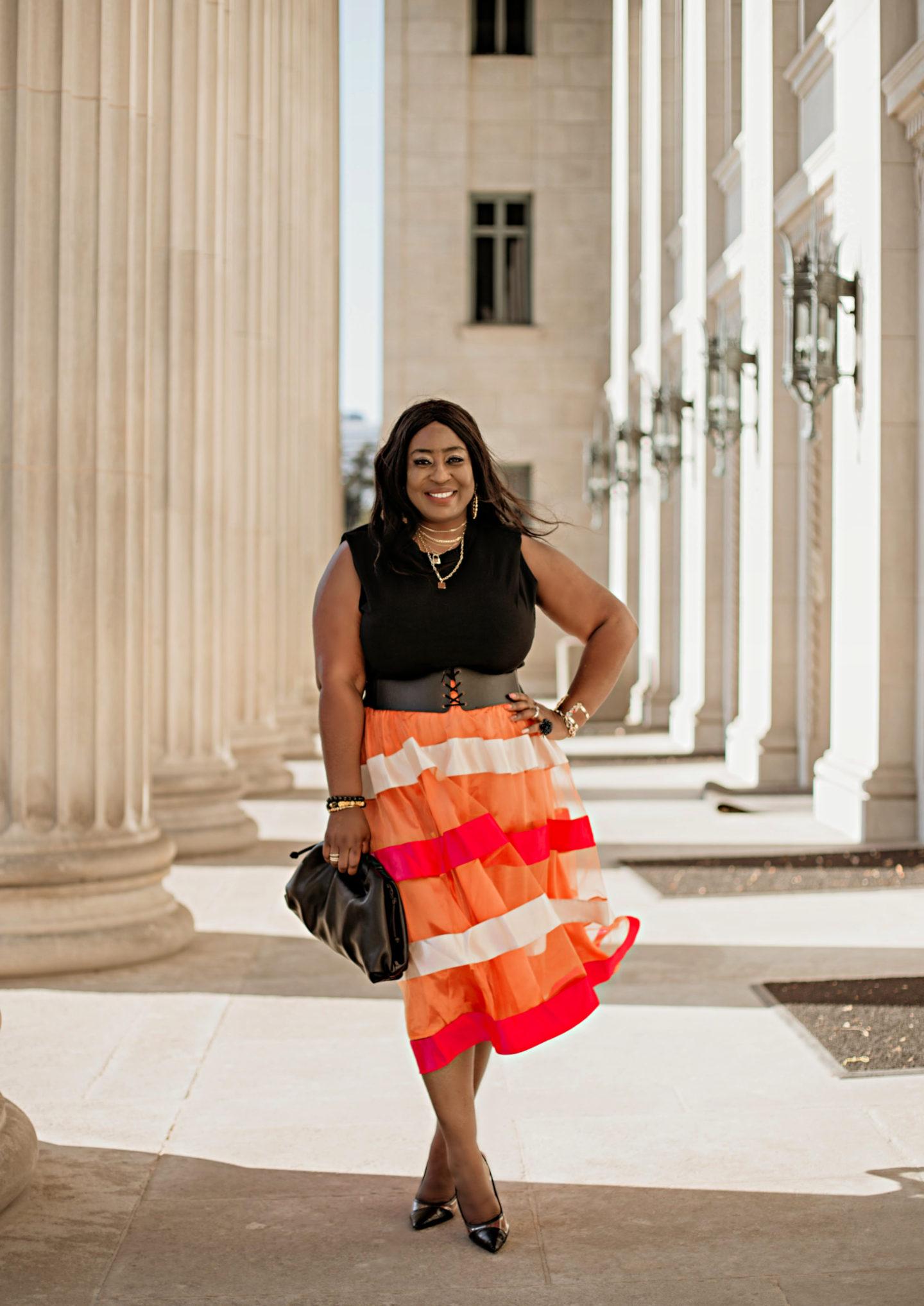 Color Me Pretty Orange Satin Sheer Midi Skirt