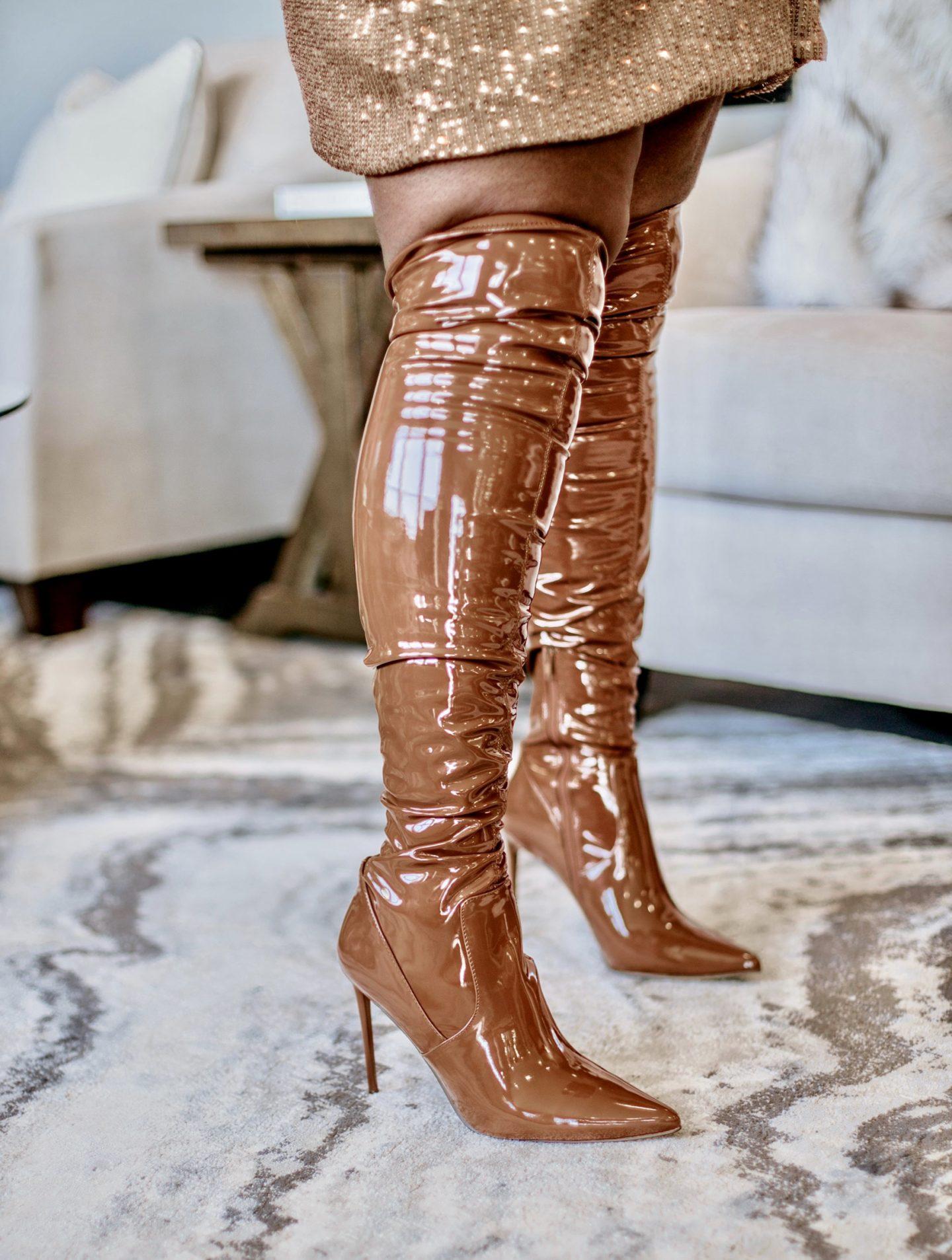 monochromatic-winter-glam-style-camel-coat-sequin-dress-steve-madden-cognac-boots