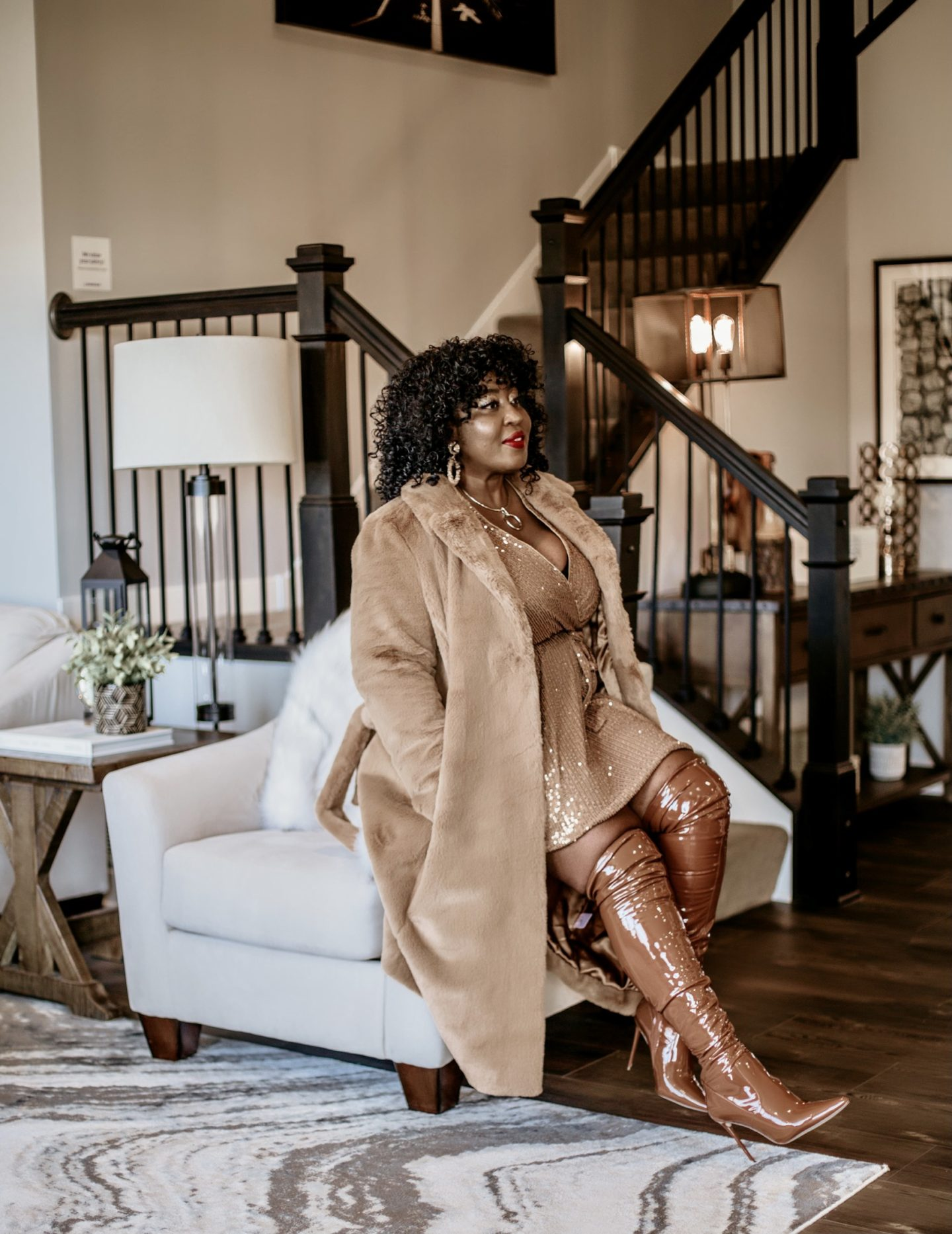 monochromatic-winter-glam-style-camel-coat-sequin-dress-hypnozglam