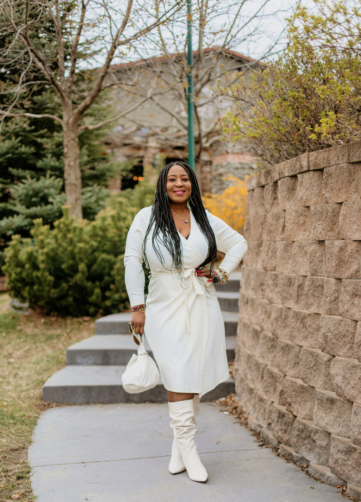 white-wrap-dress-and-boots 2