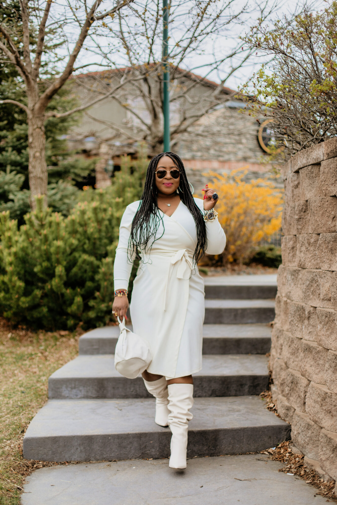 How to wear a white sweater dress in Fall
